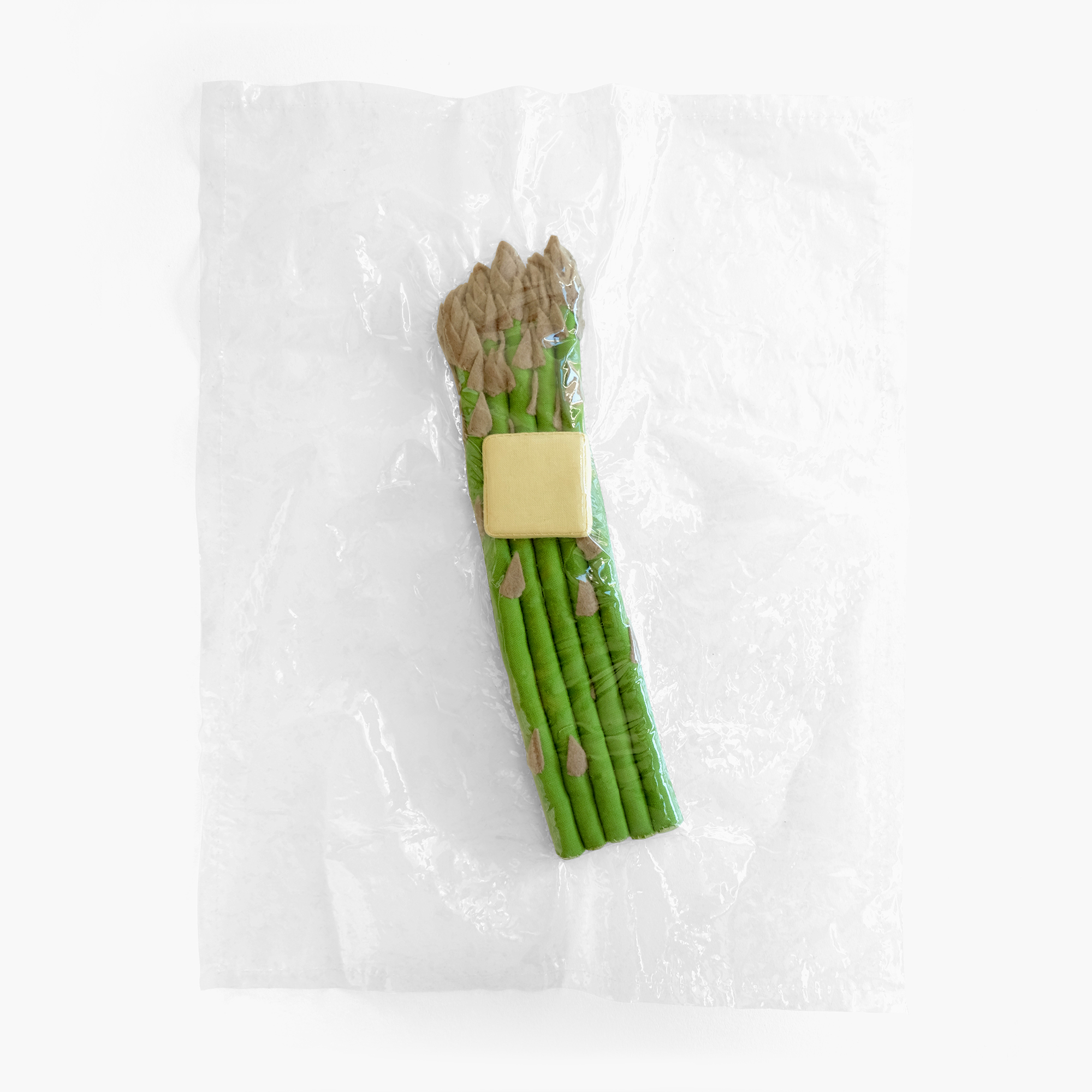 Sous Vide for One    Asparagus with butter   Fiberfill, felt, cotton cloth, vinyl 0.5 x 14 x 11 in 2014