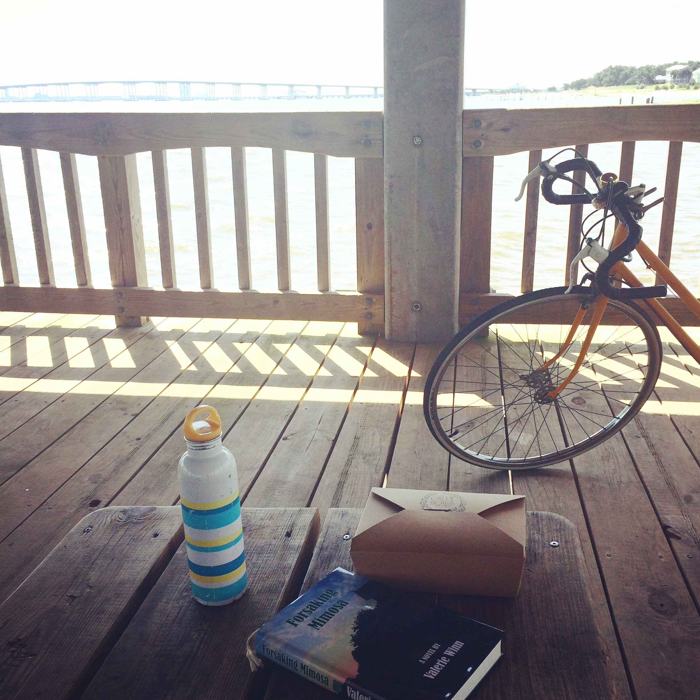 I finished reading Forsaking Mimosa while sitting on a pier on East Beach eating a snack box!