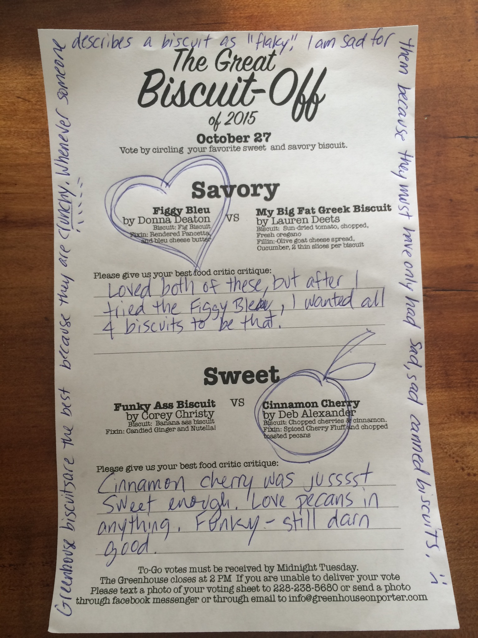 Thanks for the great comments about our biscuits, and giving us something fun to look at!