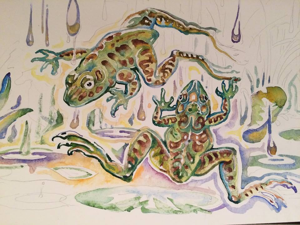 A work in progress: Leaping Bullfrogs. This piece is hanging in the Greenhouse all July!