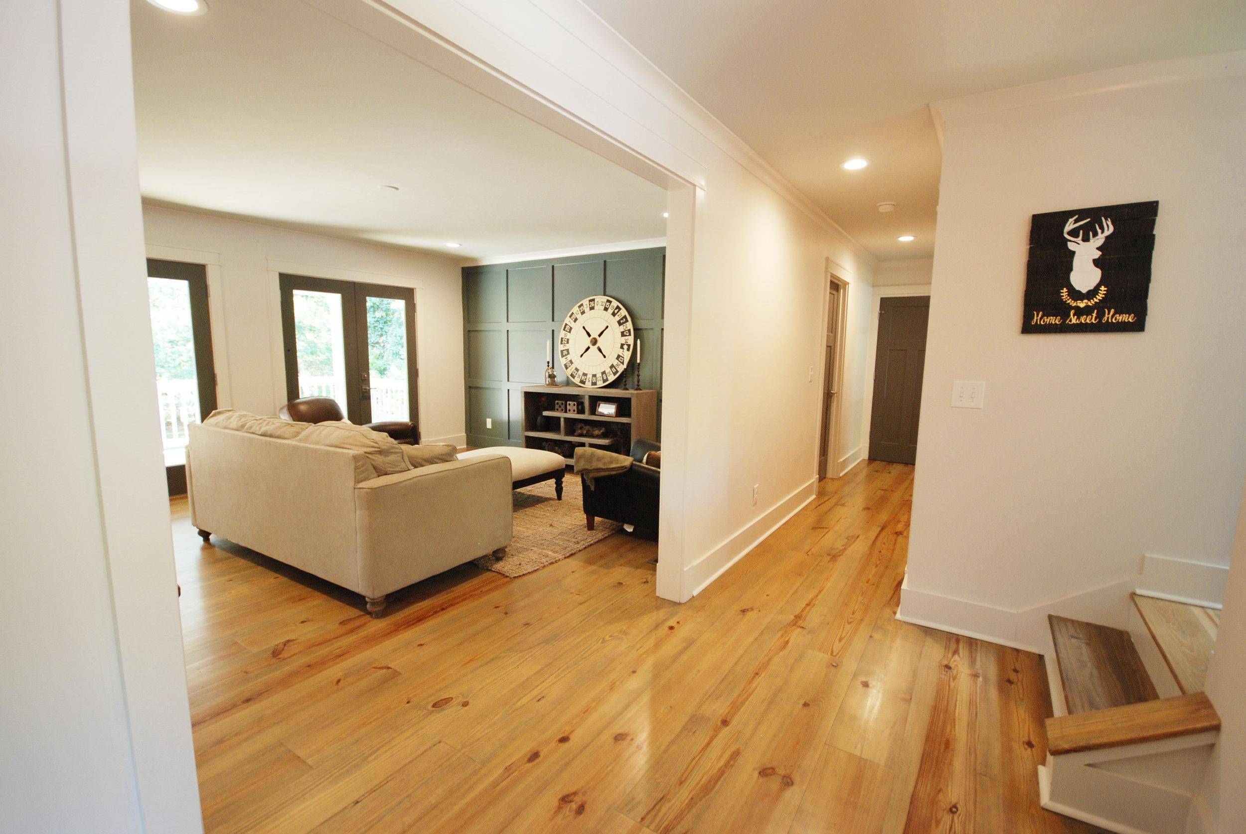 Reclaimed factory wide plank floors