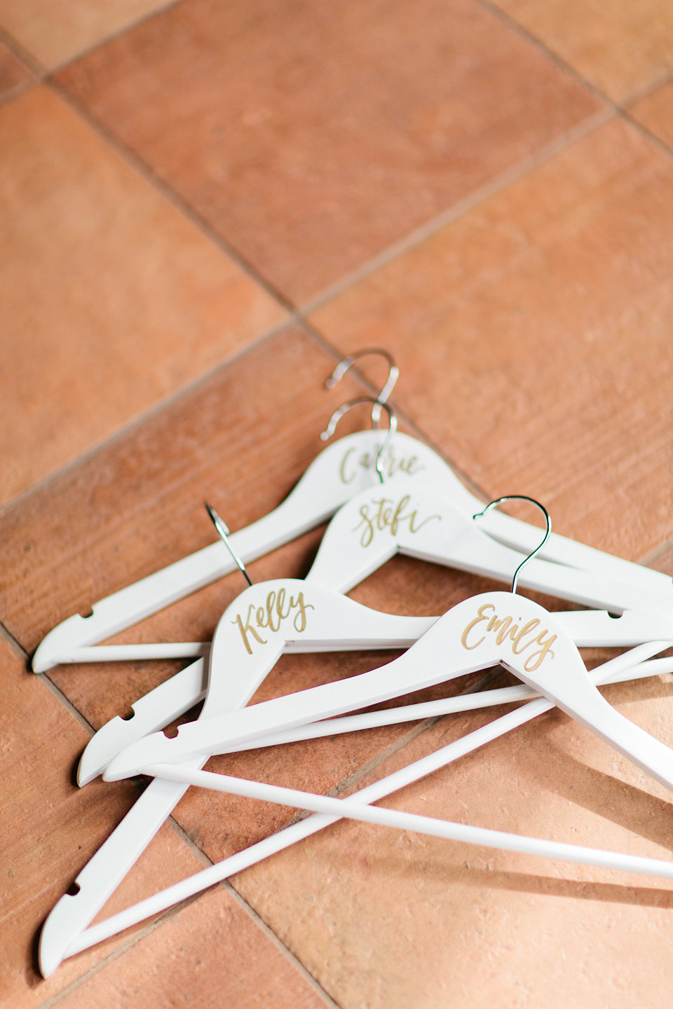 Gold & Cream Personalized Bridal Party Hangers  Blush Wedding at TPC Sawgrass Wedding Ponte Vedra Beach  Jacksonville Wedding Planner Blue Ribbon Weddings  Jacksonville Wedding Photographer Debra Eby Photography  Wedding Ceremony & Reception at TPC Sawgrass Jacksonville
