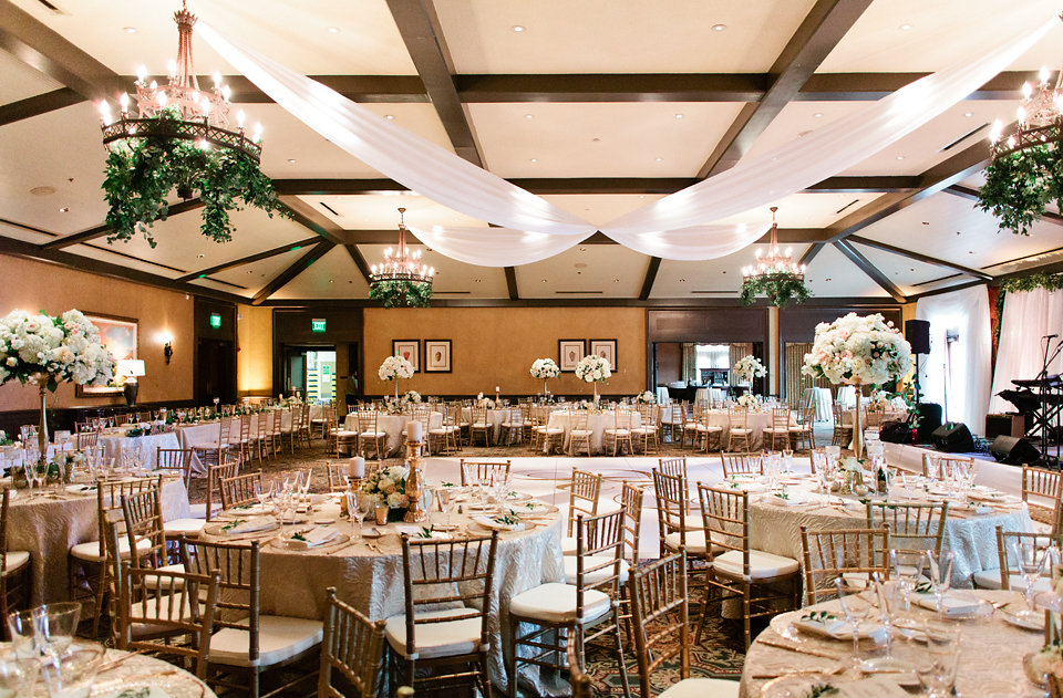 TPC Sawgrass Reception with draping and greenery  Blush Wedding at TPC Sawgrass Wedding Ponte Vedra Beach  Jacksonville Wedding Planner Blue Ribbon Weddings  Jacksonville Wedding Photographer Debra Eby Photography  Wedding Ceremony & Reception at TPC Sawgrass Jacksonville