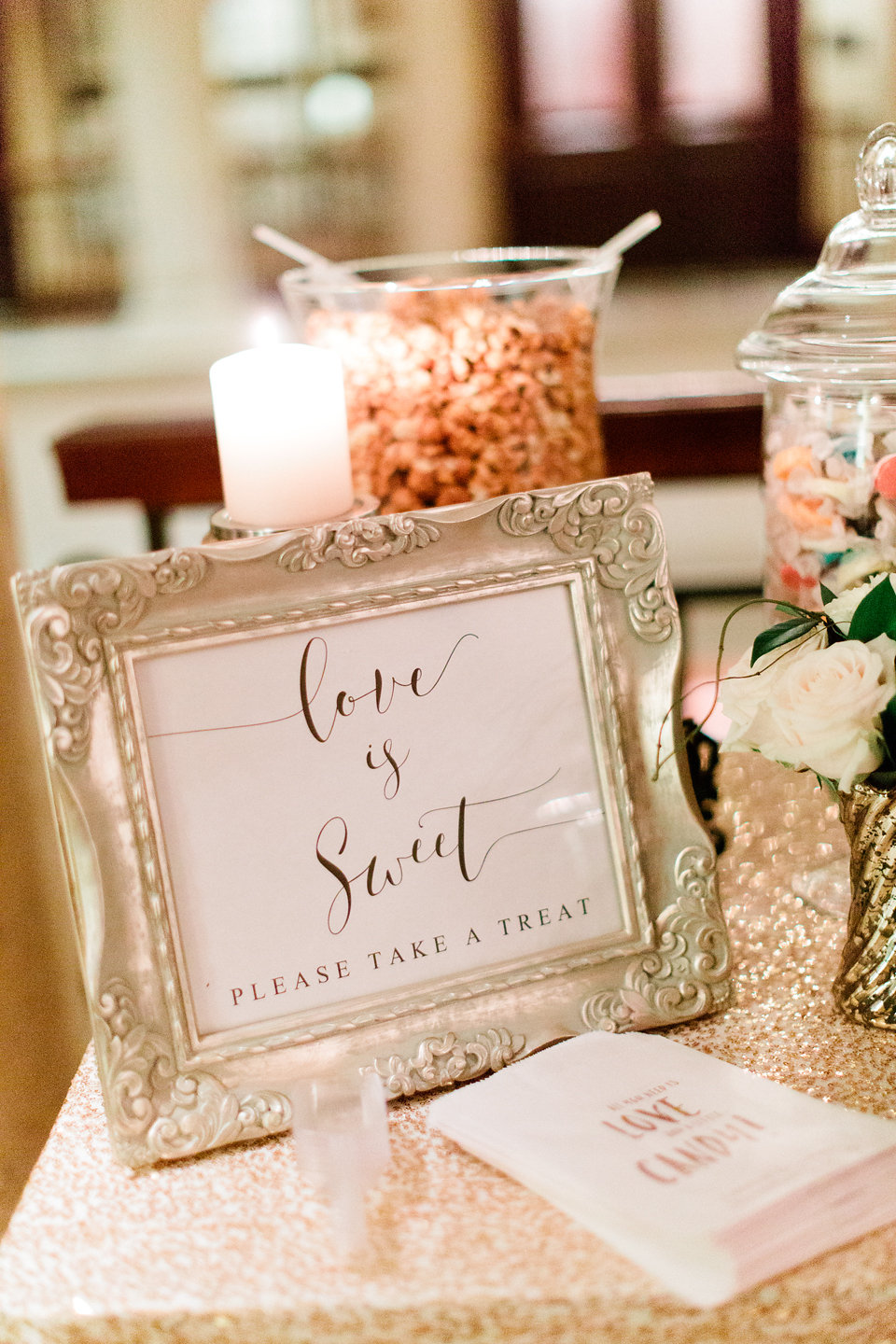 Something Sweet Candy Dessert Buffet Display  Blush Wedding at TPC Sawgrass Wedding Ponte Vedra Beach  Jacksonville Wedding Planner Blue Ribbon Weddings  Jacksonville Wedding Photographer Debra Eby Photography  Wedding Ceremony & Reception at TPC Sawgrass Jacksonville