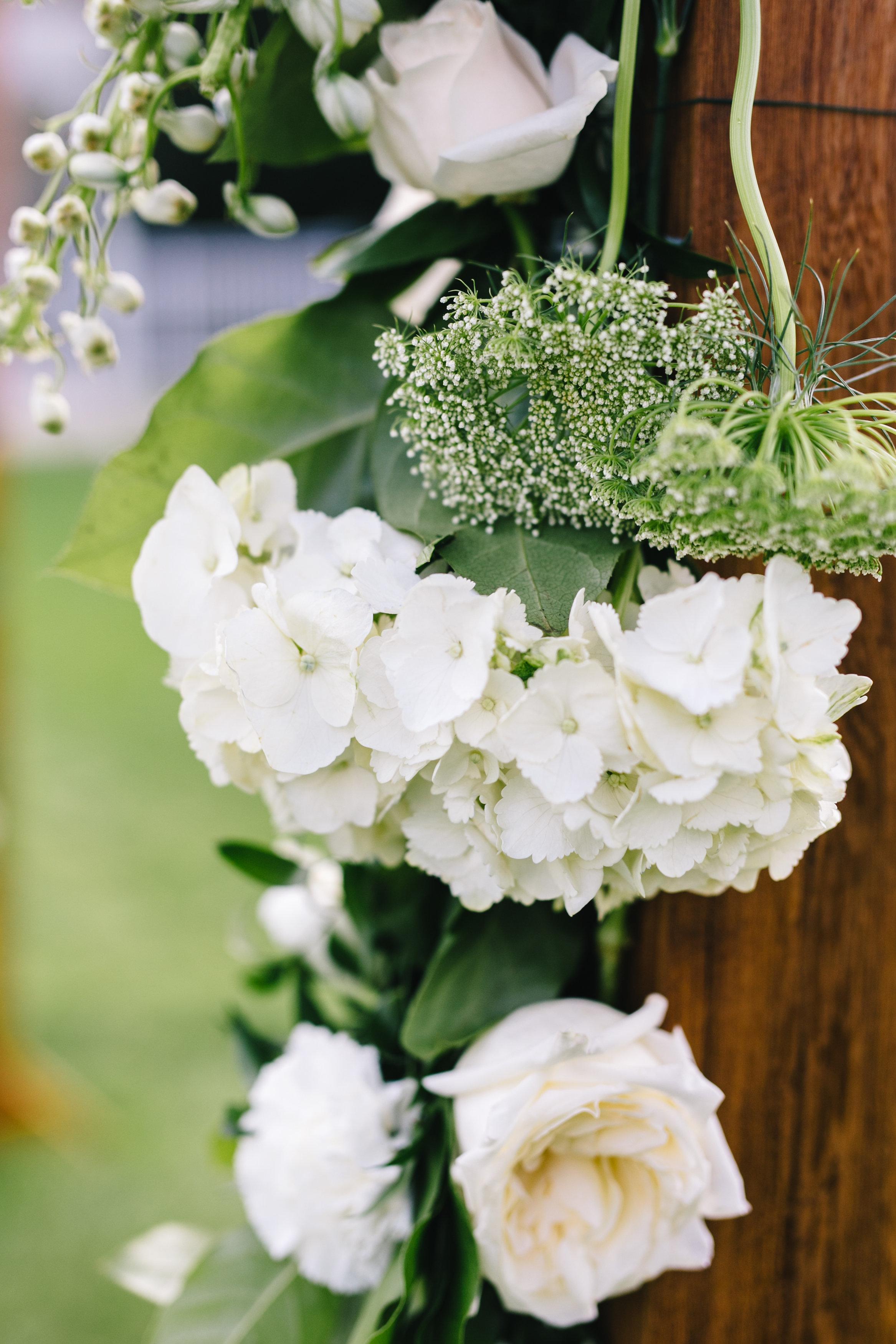 White hydrangea and garden roses, wedding florals