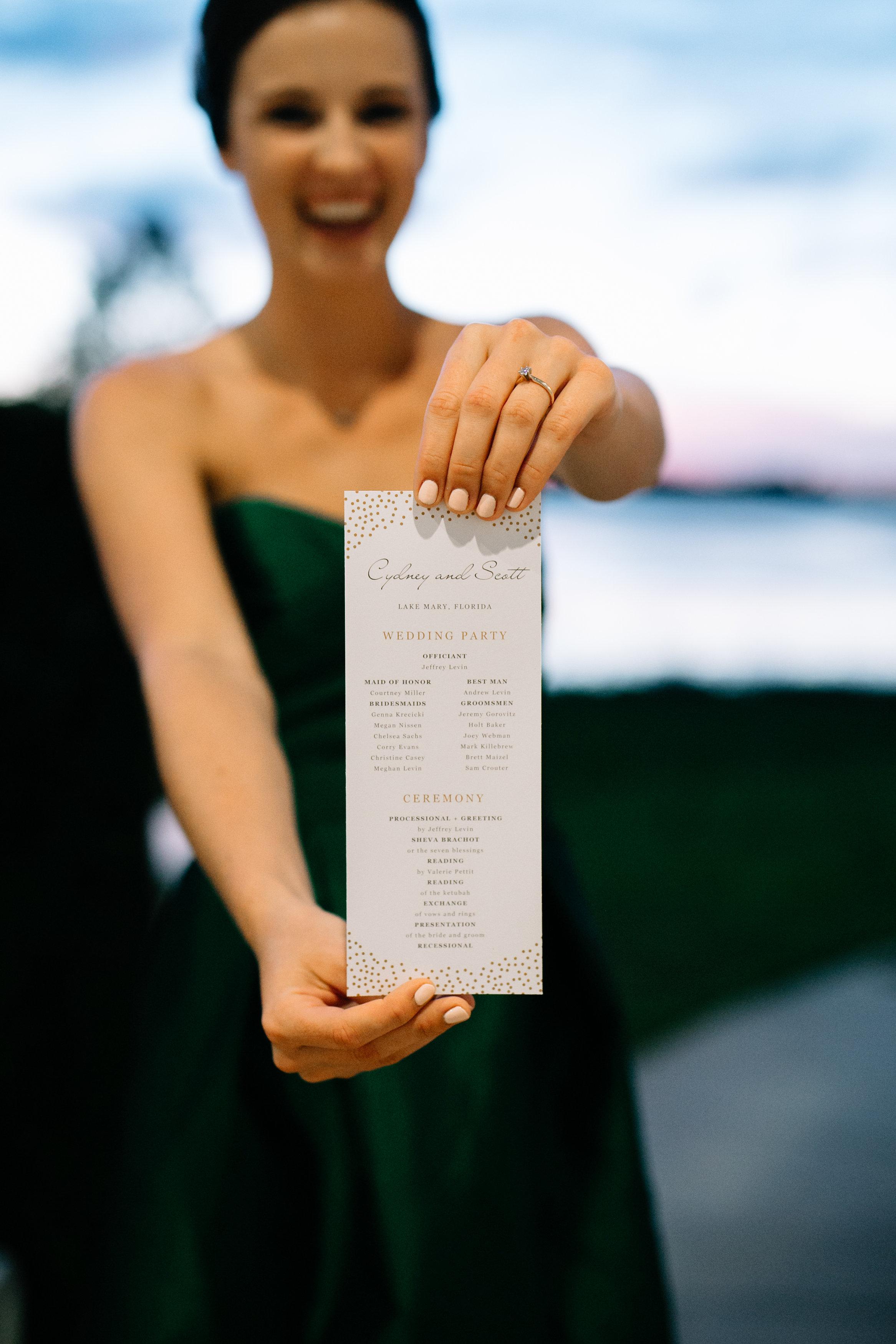 Wedding Ceremony Program Lake Mary Wedding