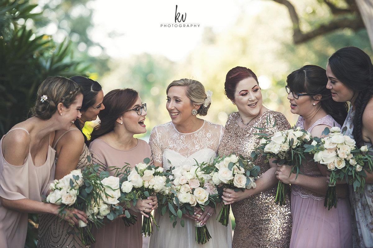 Bride and bridesmaids at Winter Park wedding