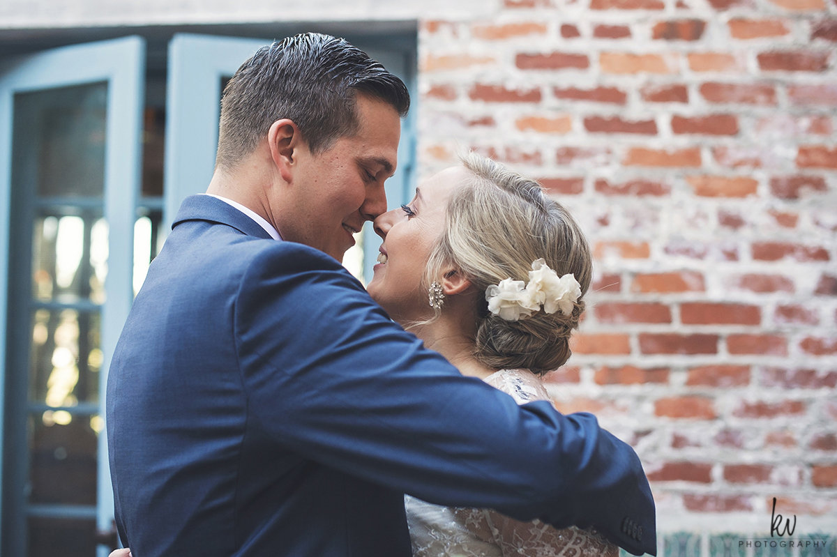 Loving embrace at Casa Feliz wedding