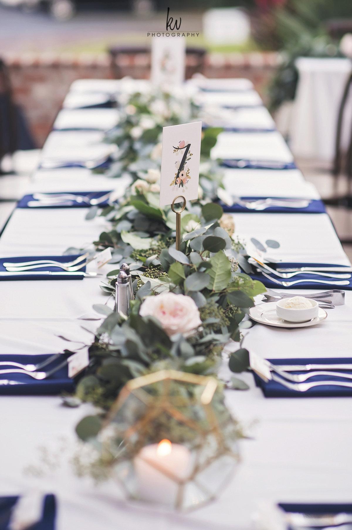 Long banquet tables at Casa Feliz Wedding Reception