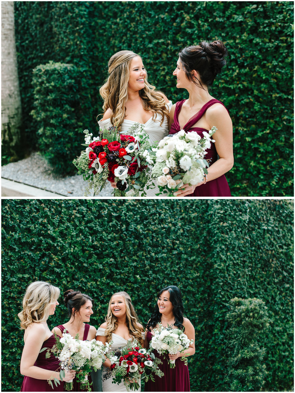 Jess and her bridesmaids, dressed in deep red