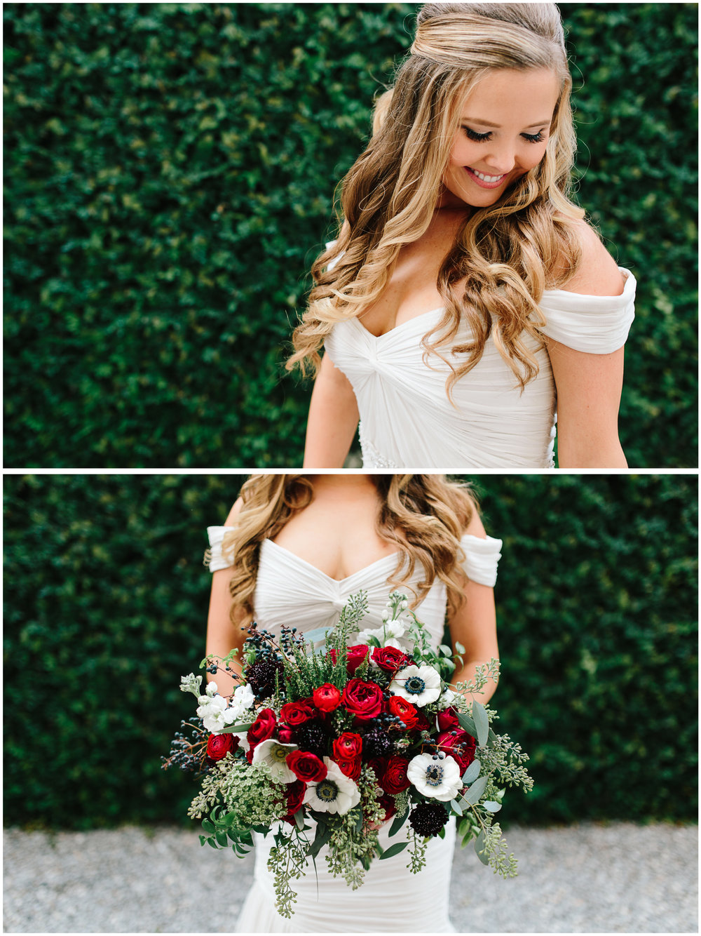 Blushing bride with her loose curls and deep red bridal bouquet