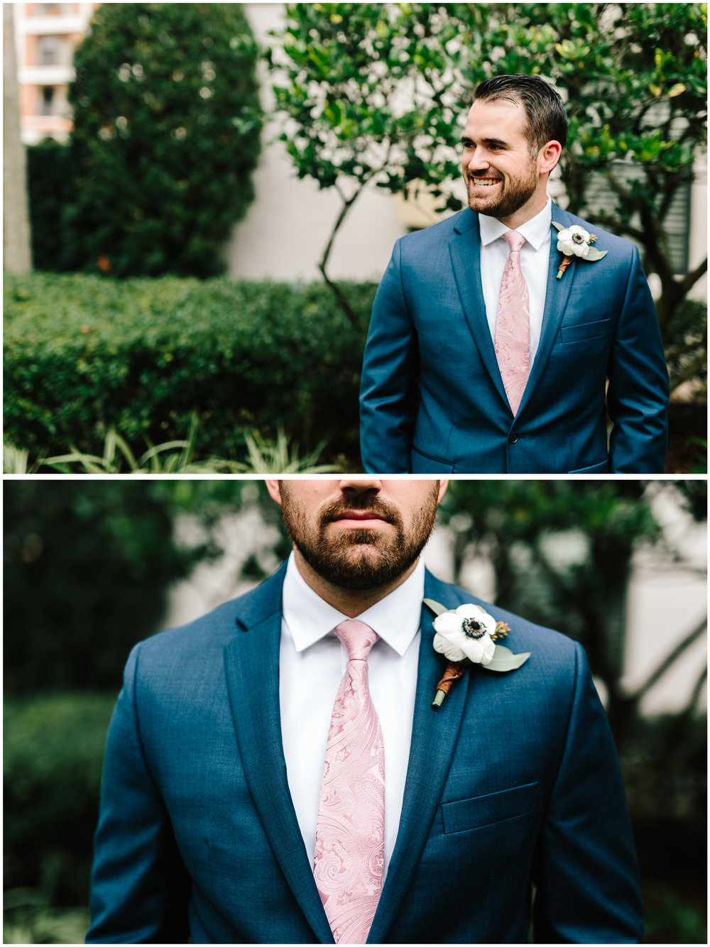 Dapper groom in his navy suit and blush pink tie with anemone boutonniere