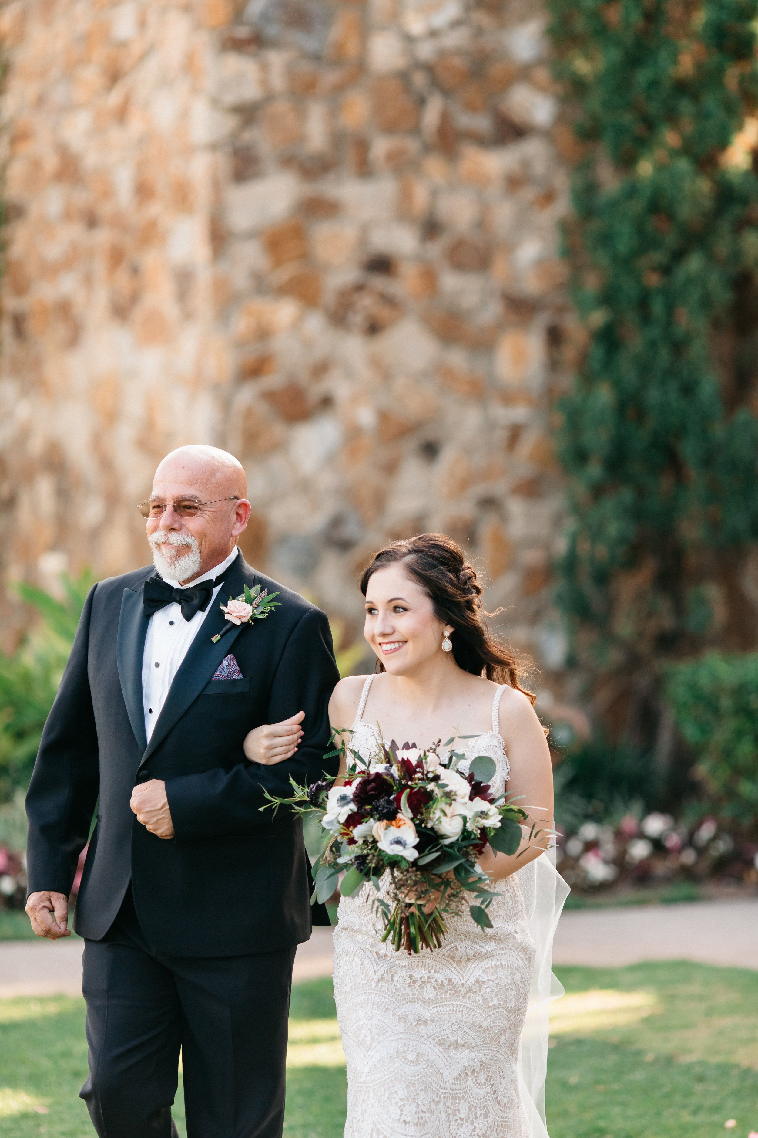 Sammy and her father escorting her down the aisle, Bella Collina Wedding