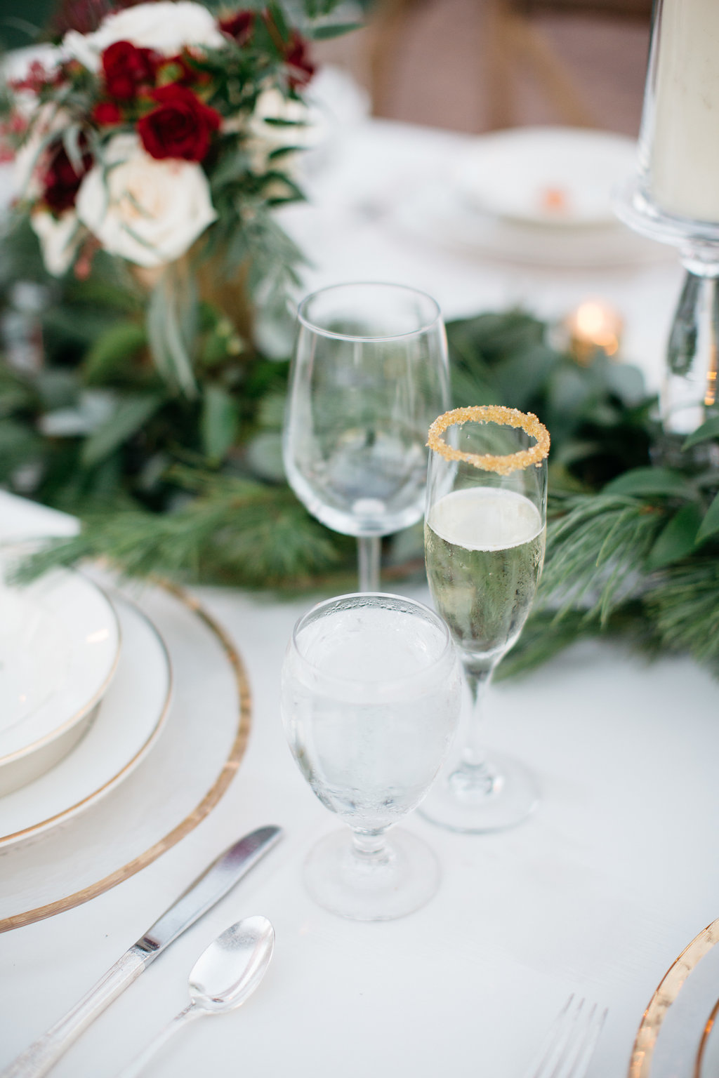 Gold sugar rimmed glasses, wedding reception