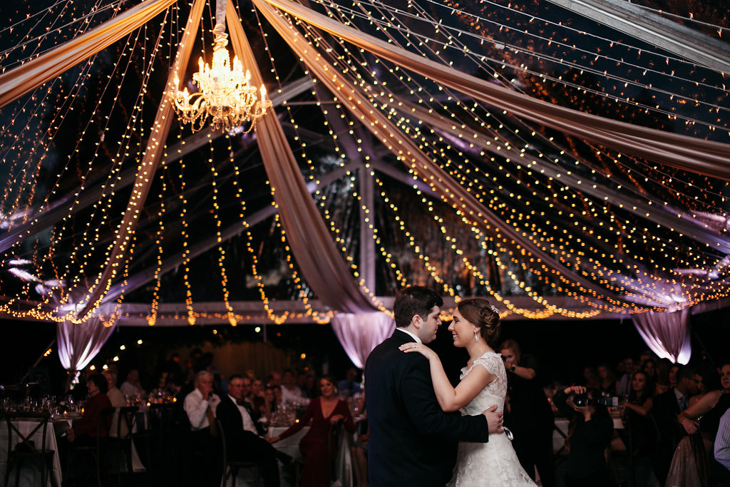 Chandeliers and market lighting to create a romantic wedding reception