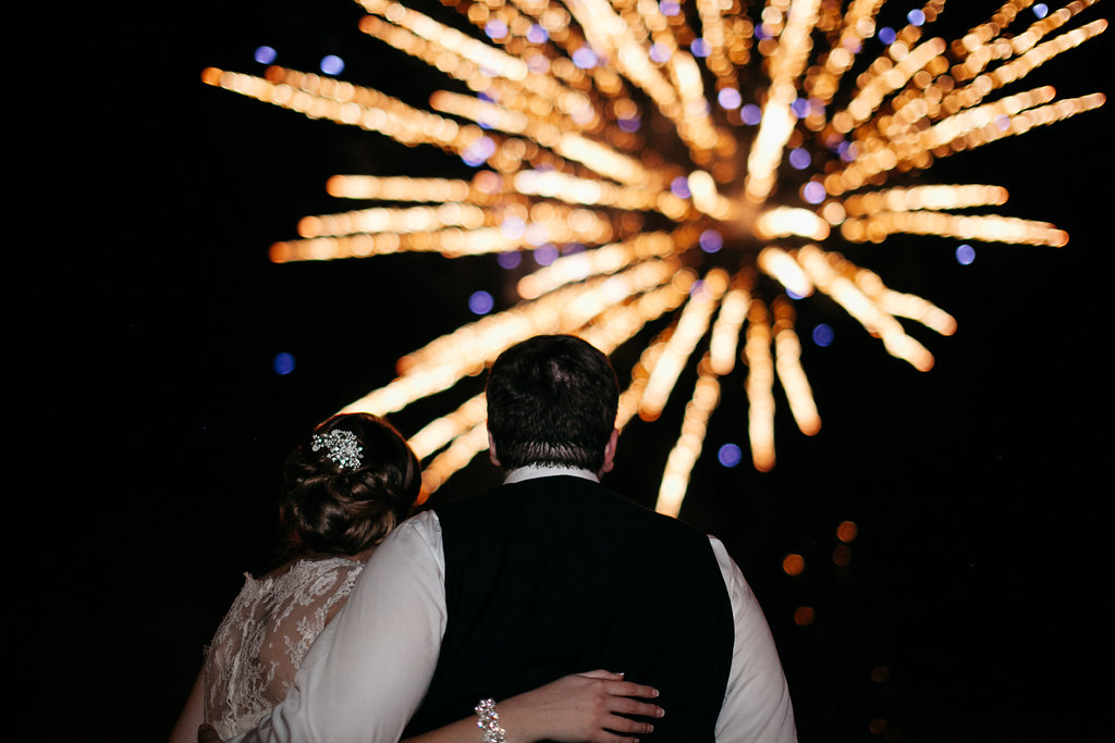 Fireworks concluded the couple's grand exit, Mallard Cove reception