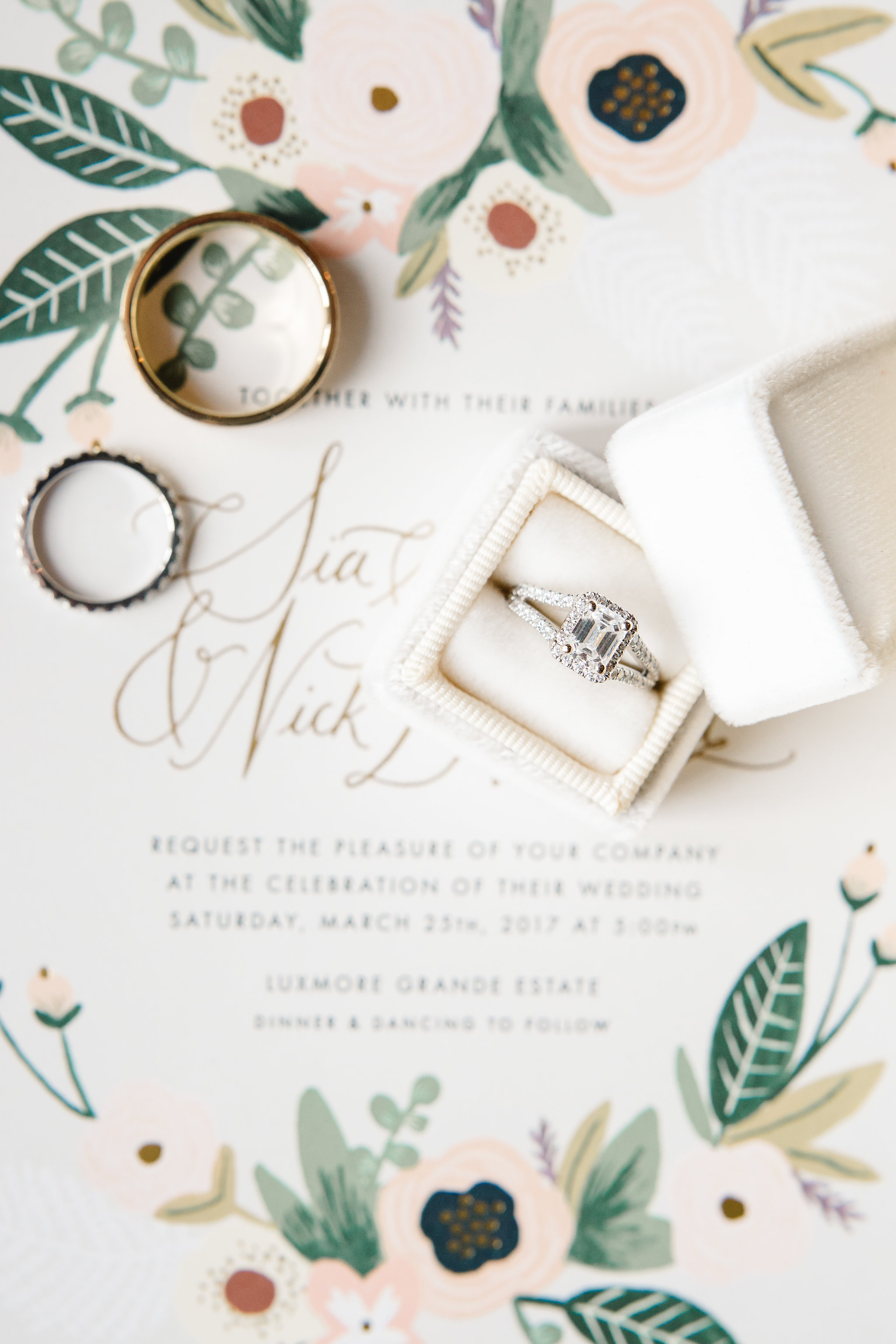 Rifle Paper Co. Botanical Wedding Invitations and Wedding Rings  Orlando Wedding Planner Blue Ribbon Weddings  Orlando Wedding Photographer JP Pratt Photography  Wedding Ceremony & Reception at Luxmore Grande Estate