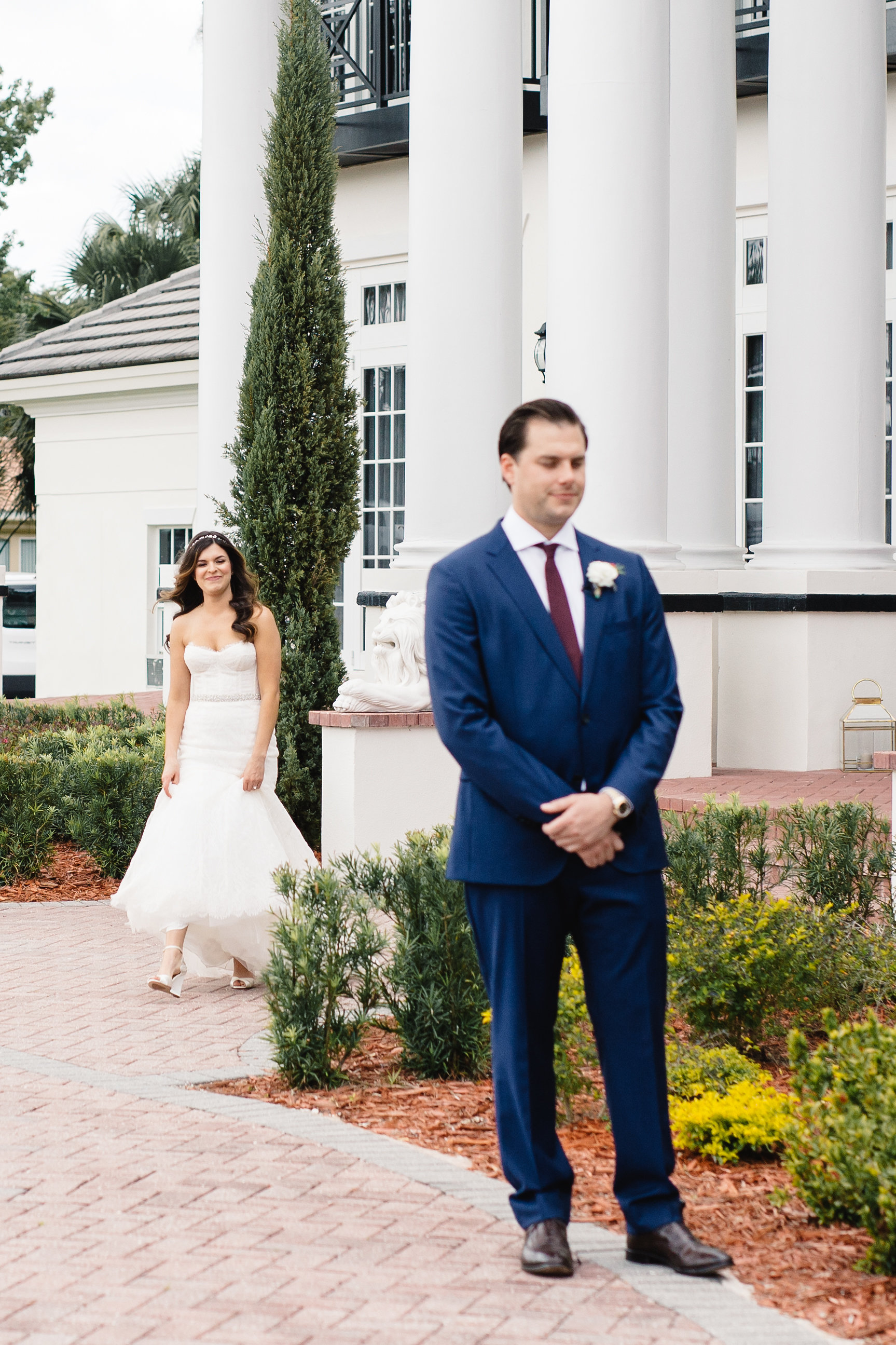 Bride & Groom First Look at Luxmore Grande Estate  Orlando Wedding Planner Blue Ribbon Weddings  Orlando Bridal Salon The Collection in Winter Park Florida  Orlando Wedding Photographer JP Pratt Photography  Wedding Ceremony & Reception at Luxmore Grande Estate