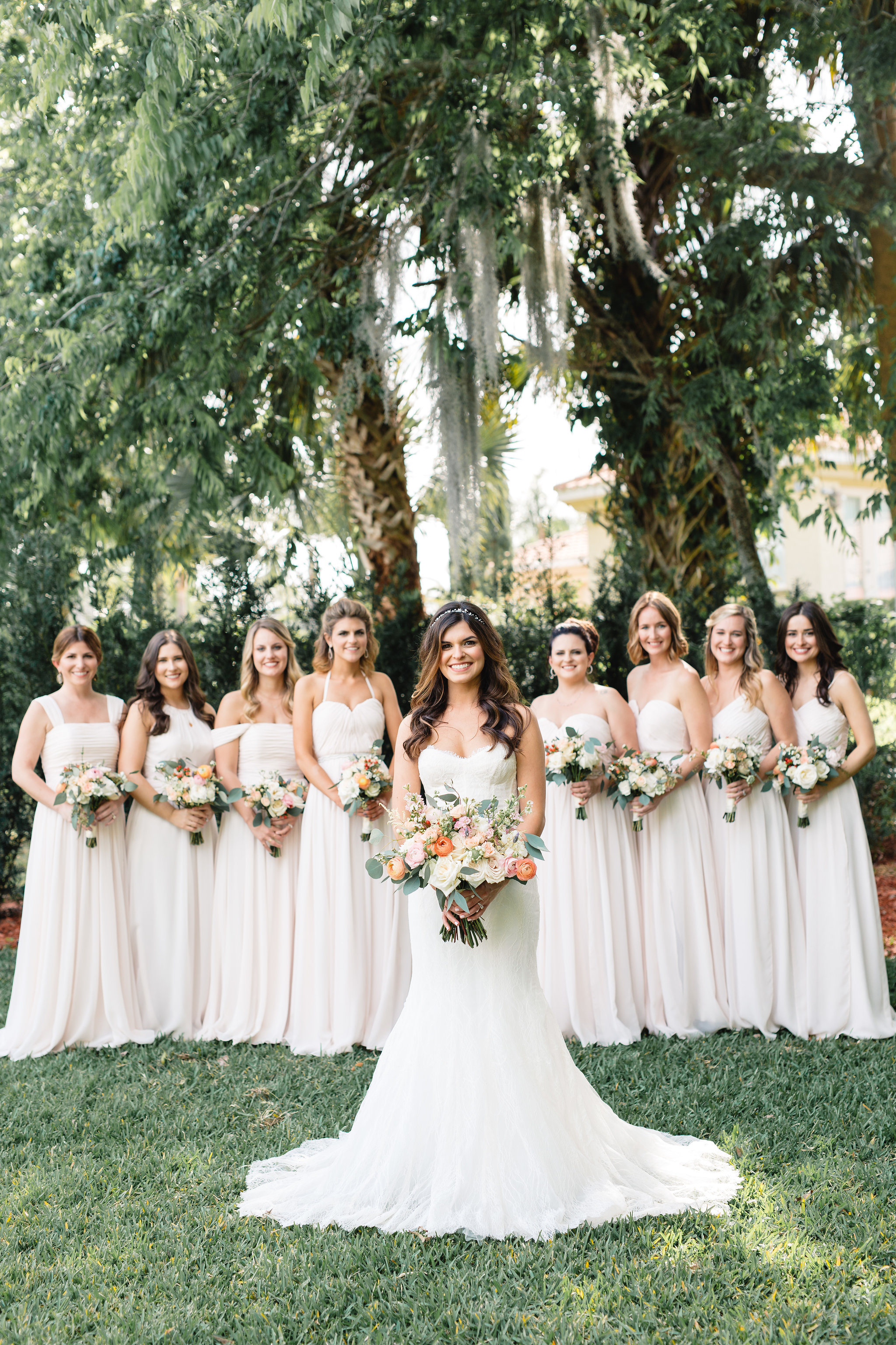 Blush Bridesmaids Dresses with ivory, blush and pink bouquets  Blush & White Garden wedding at Luxmore Grande Estate in Orlando, Florida  Orlando Wedding Planner Blue Ribbon Weddings  Orlando Wedding Photographer JP Pratt Photography  Wedding Ceremony & Reception at Luxmore Grande Estate