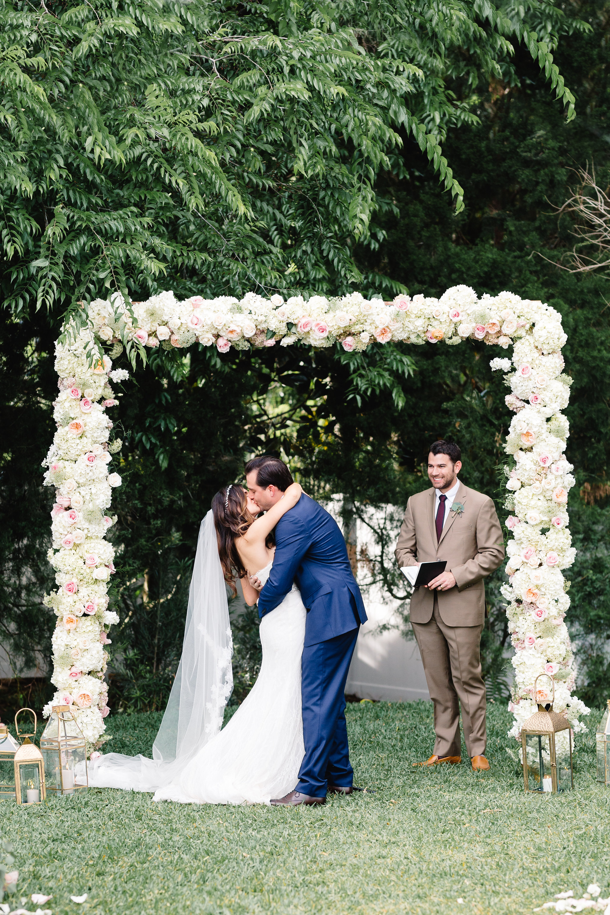 Floral covered ceremony arch  Blush & White Garden wedding at Luxmore Grande Estate in Orlando, Florida  Orlando Wedding Planner Blue Ribbon Weddings  Orlando Wedding Photographer JP Pratt Photography  Wedding Ceremony & Reception at Luxmore Grande Estate