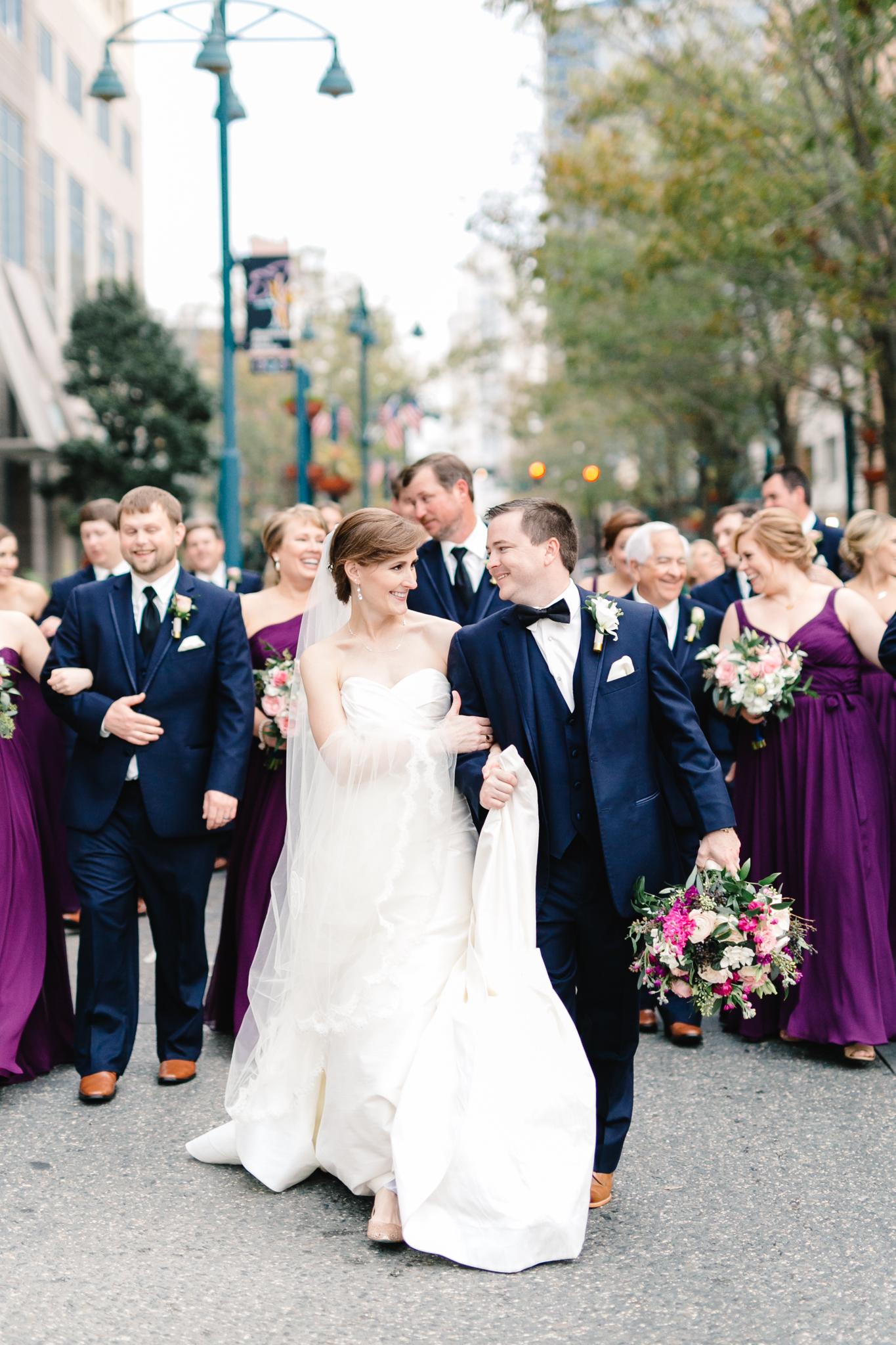 Wedding party strolling along Church Street, Downtown Orlando Wedding