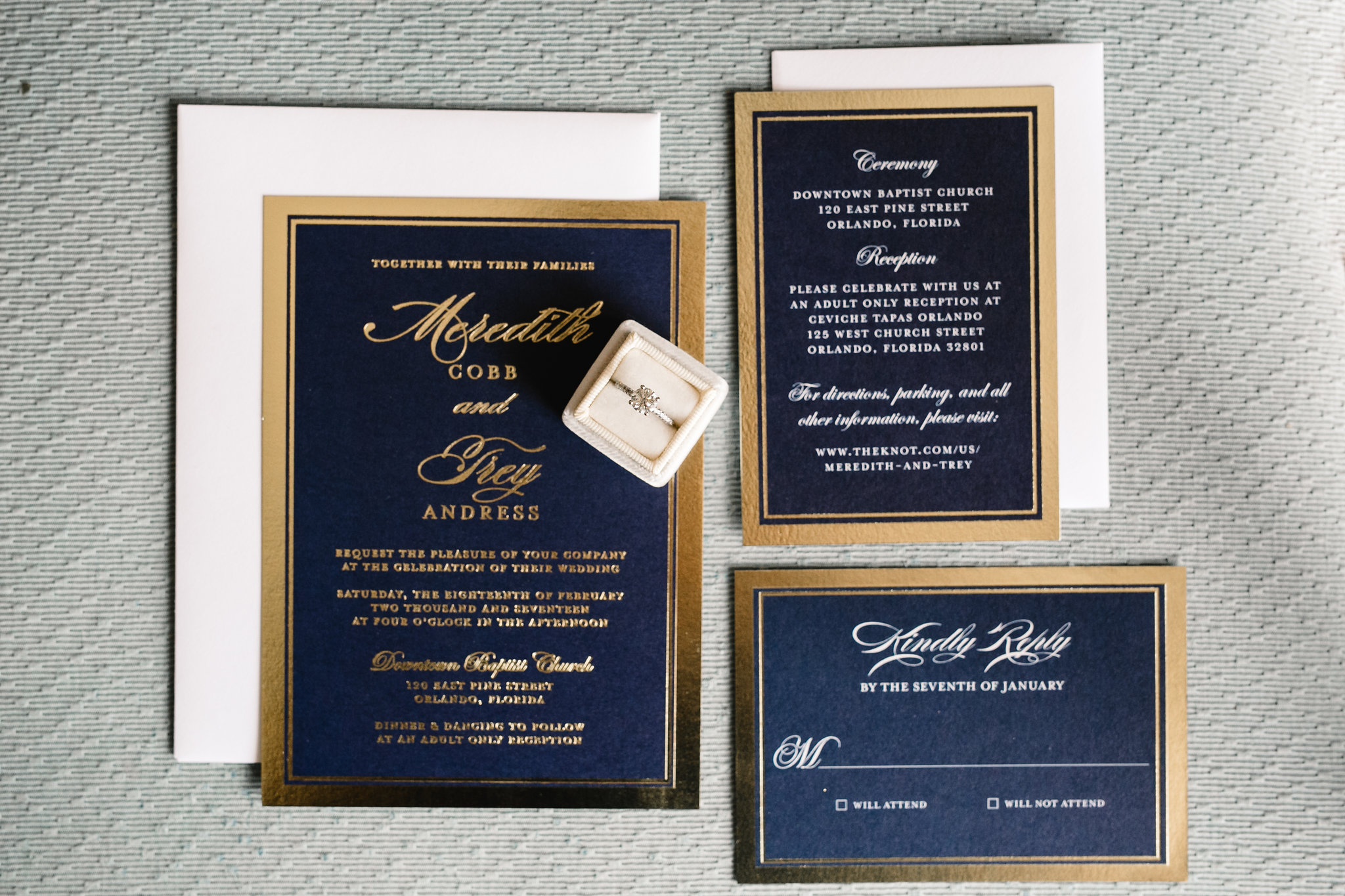 Navy and gold invitation suite, Meredith and Trey