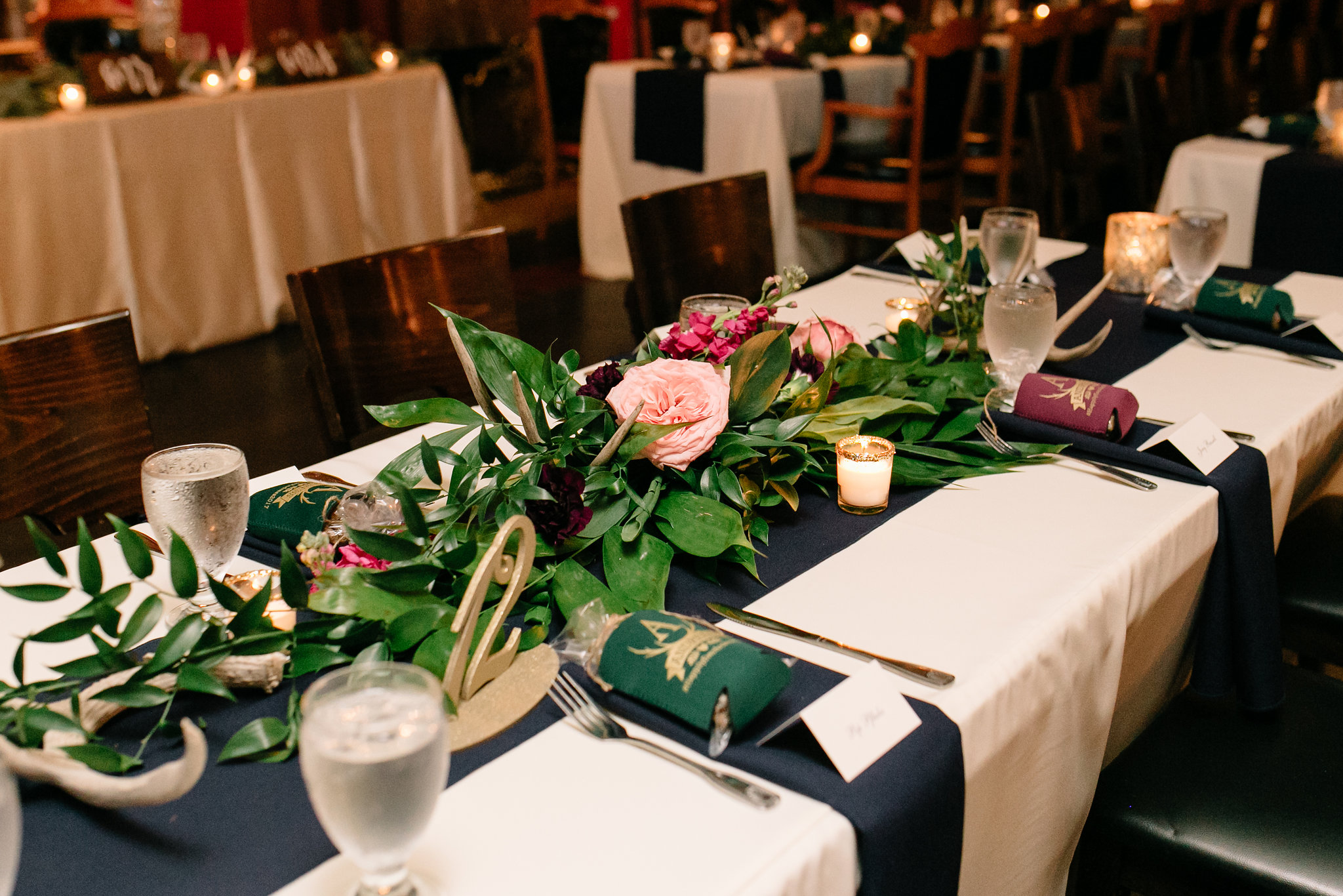 Reception banquet tables with garland centerpieces, Ceviche Reception