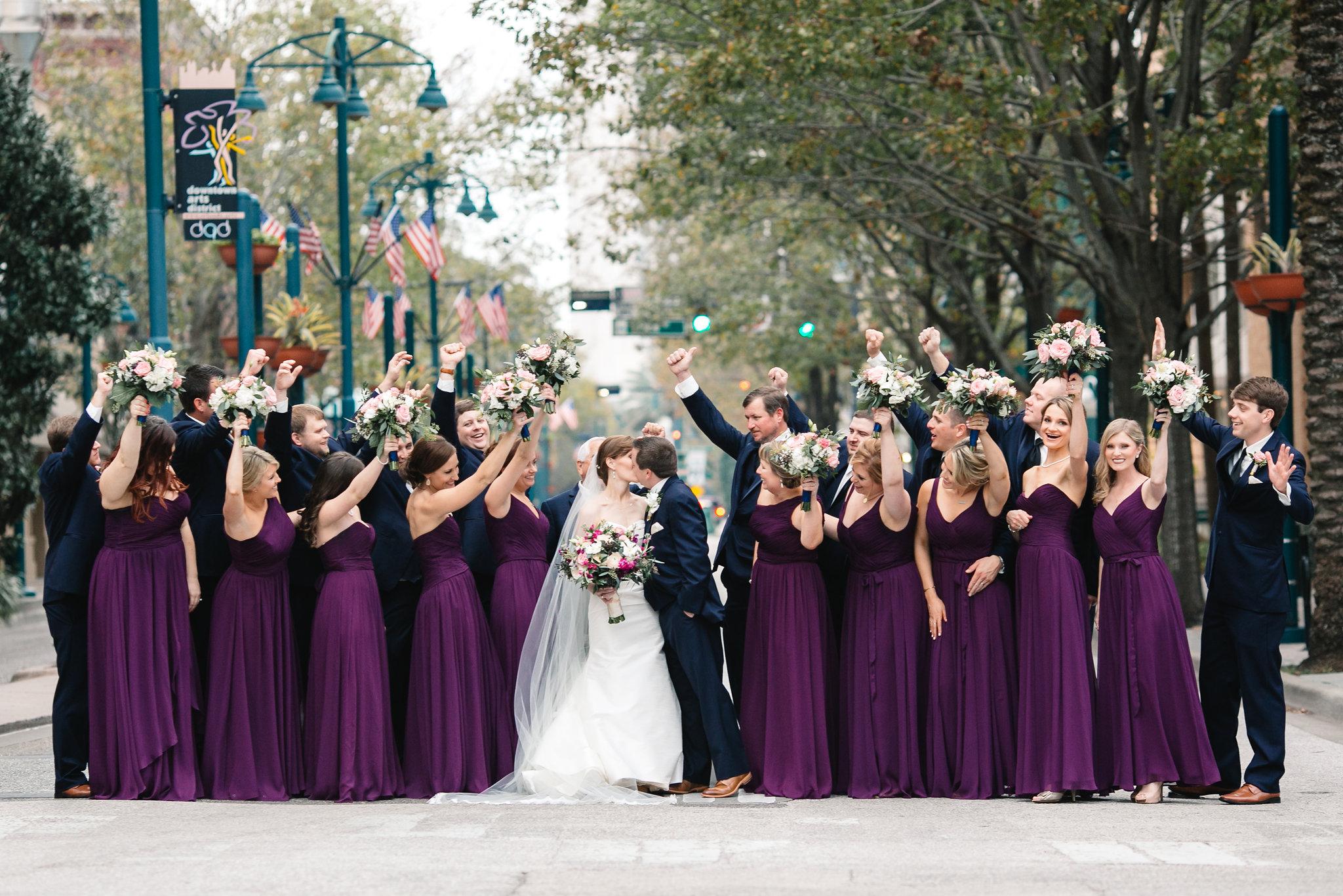 Bridal party celebrating, Downtown Orlando Wedding