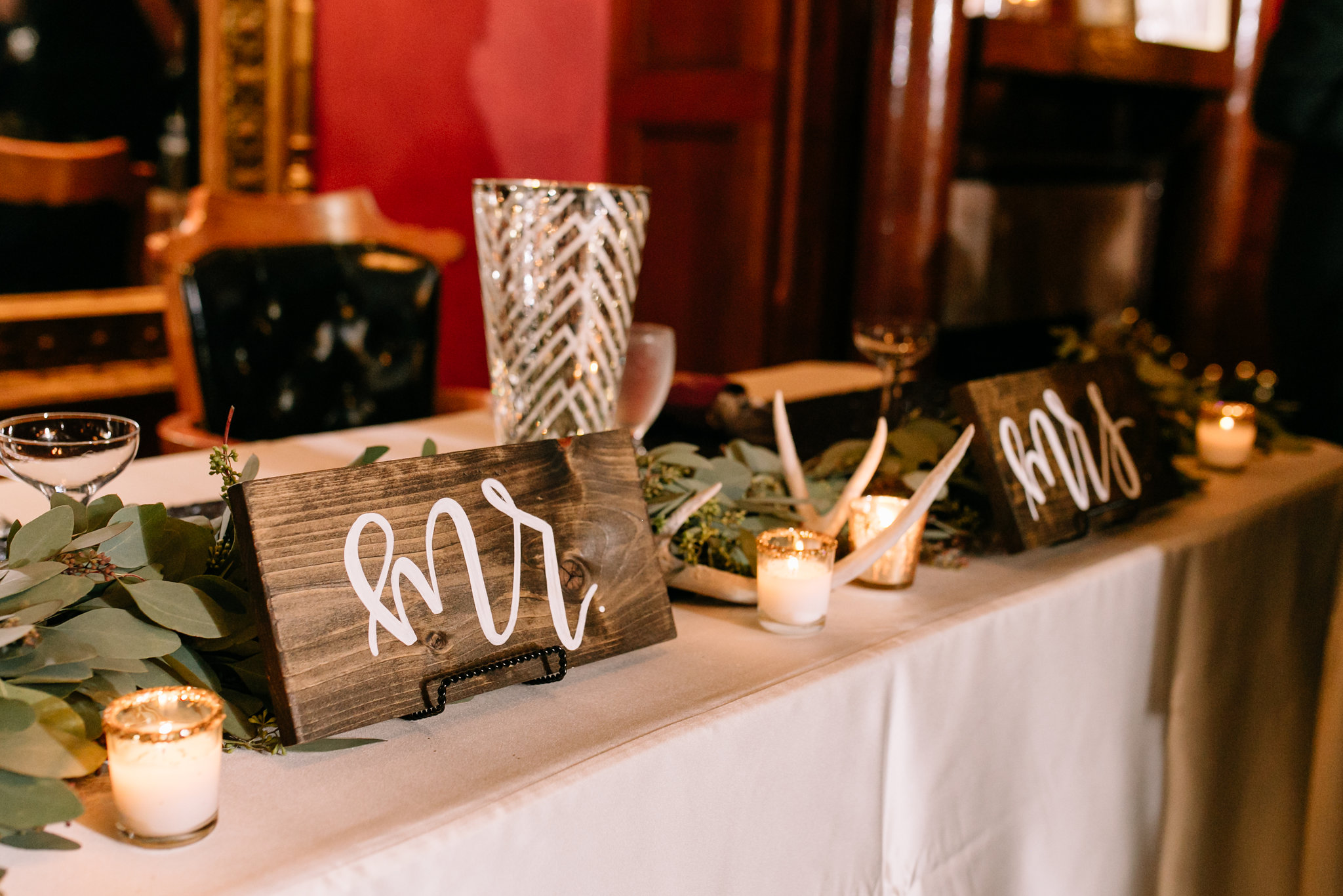 Mr. and Mrs. calligraphy wooden signage