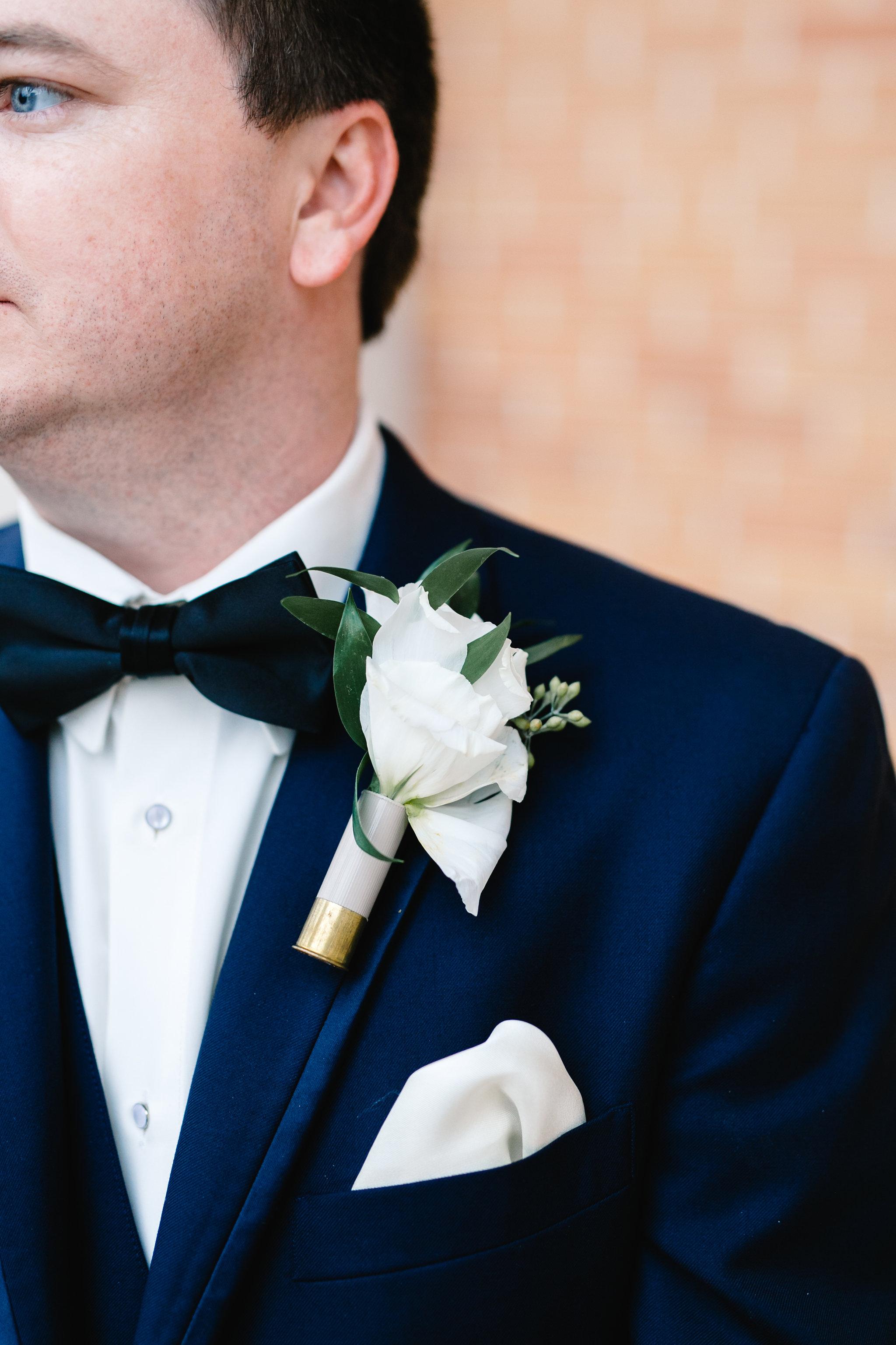 Trey's white rose boutonniere, Orlando Groom