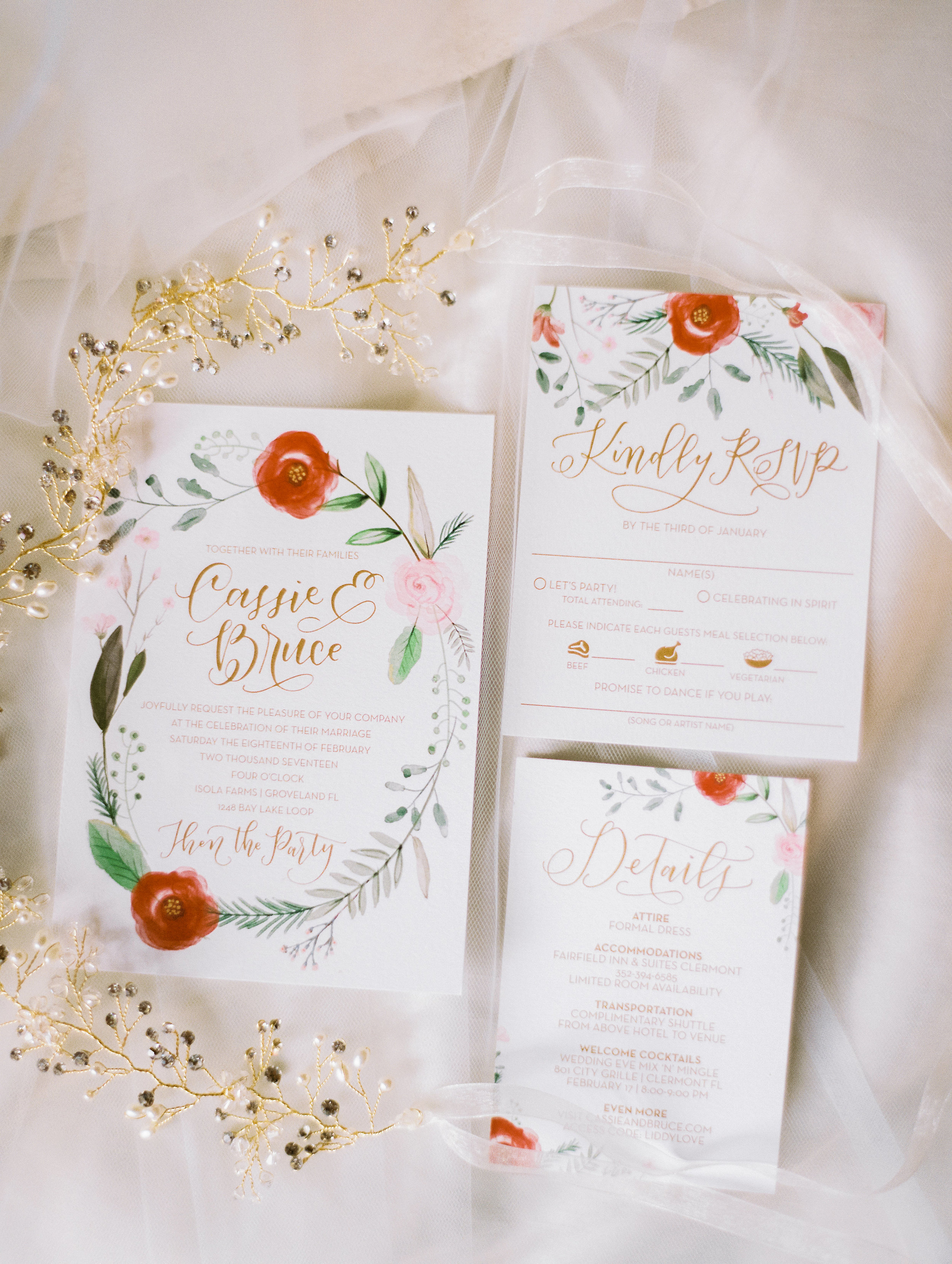 Wedding invitation suite by Feathered Heart Prints