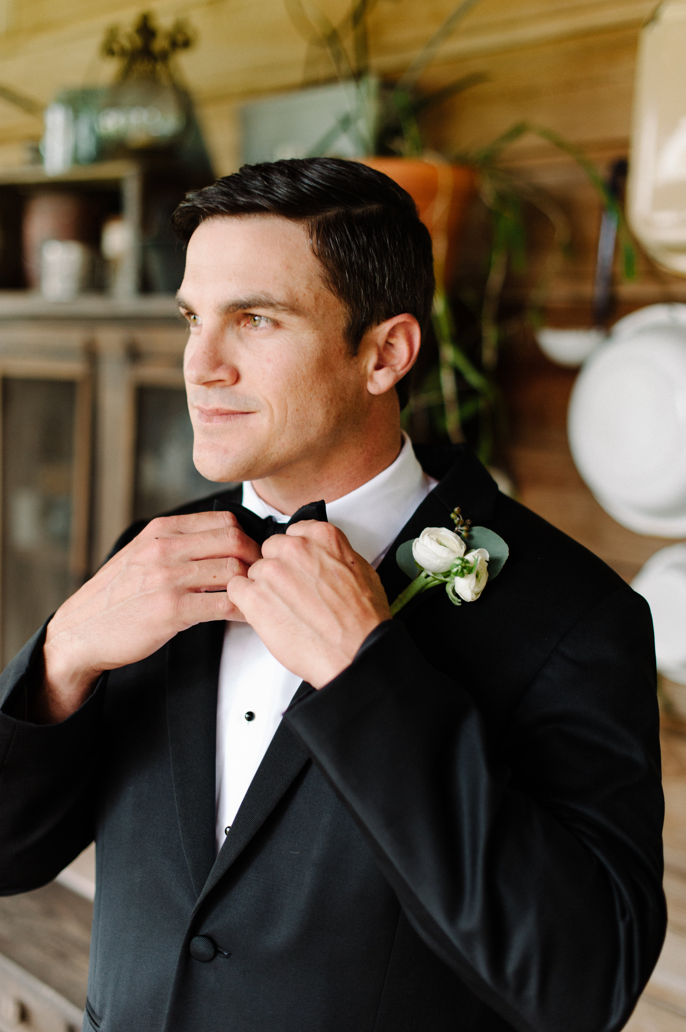 The groom and his bow tie