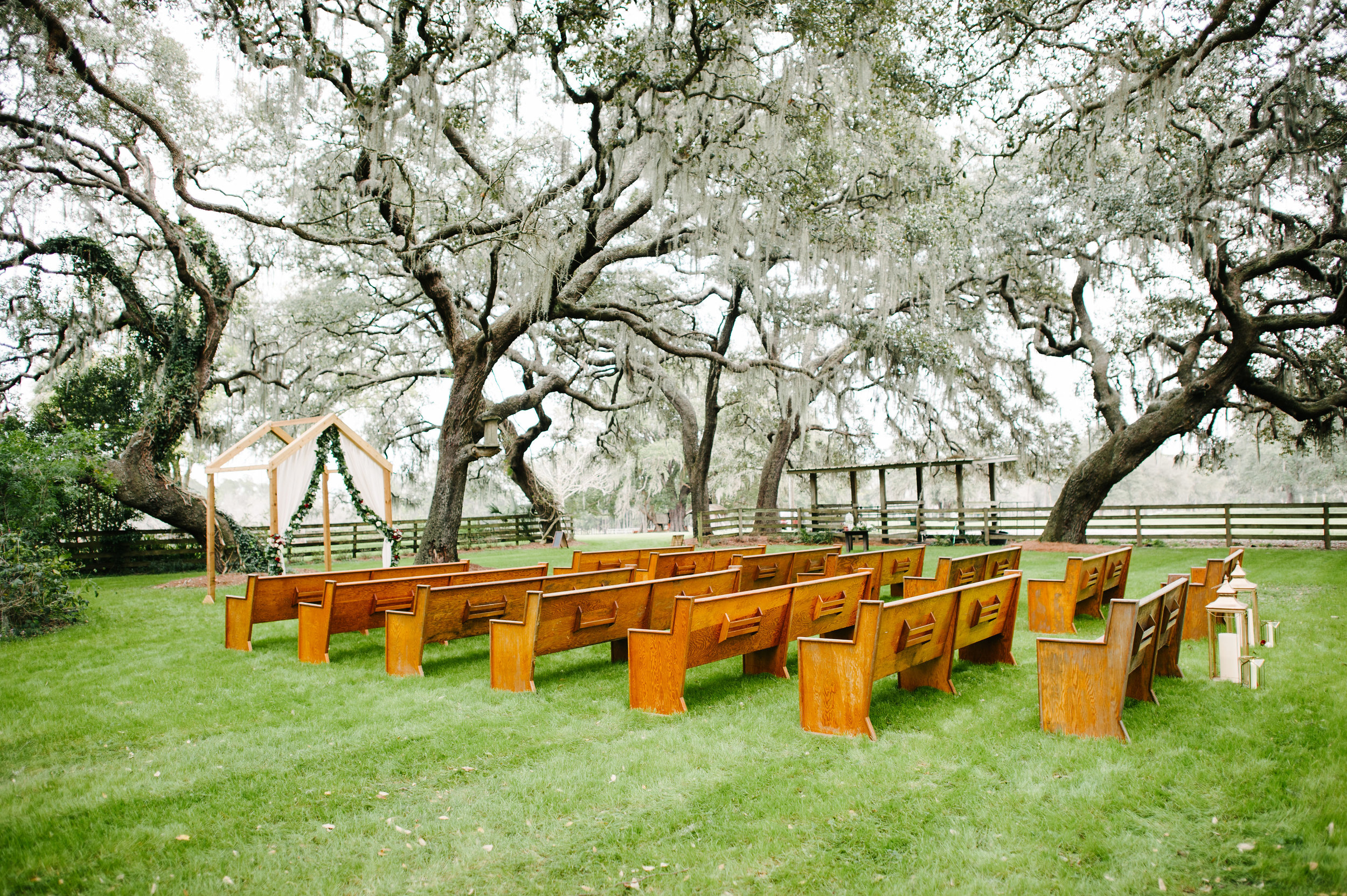 Outdoor wedding ceremony at Isola Farms