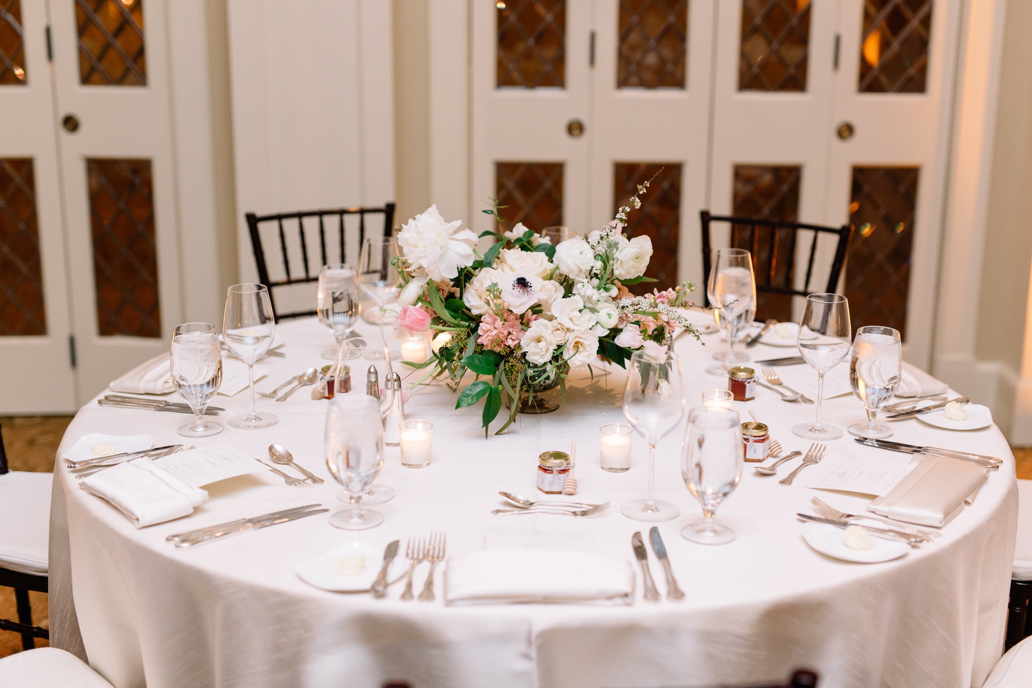 Classic wedding tablescape, Winter Park Wedding Reception