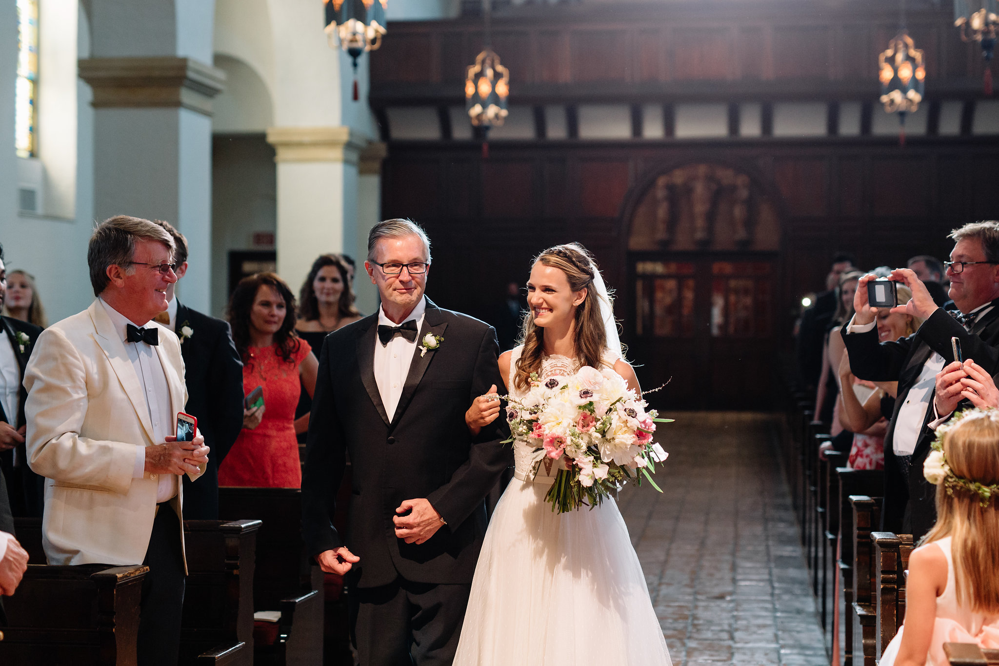 Carson and her father escorting her down the aisle, Knowles Memorial Chapel Wedding Ceremony