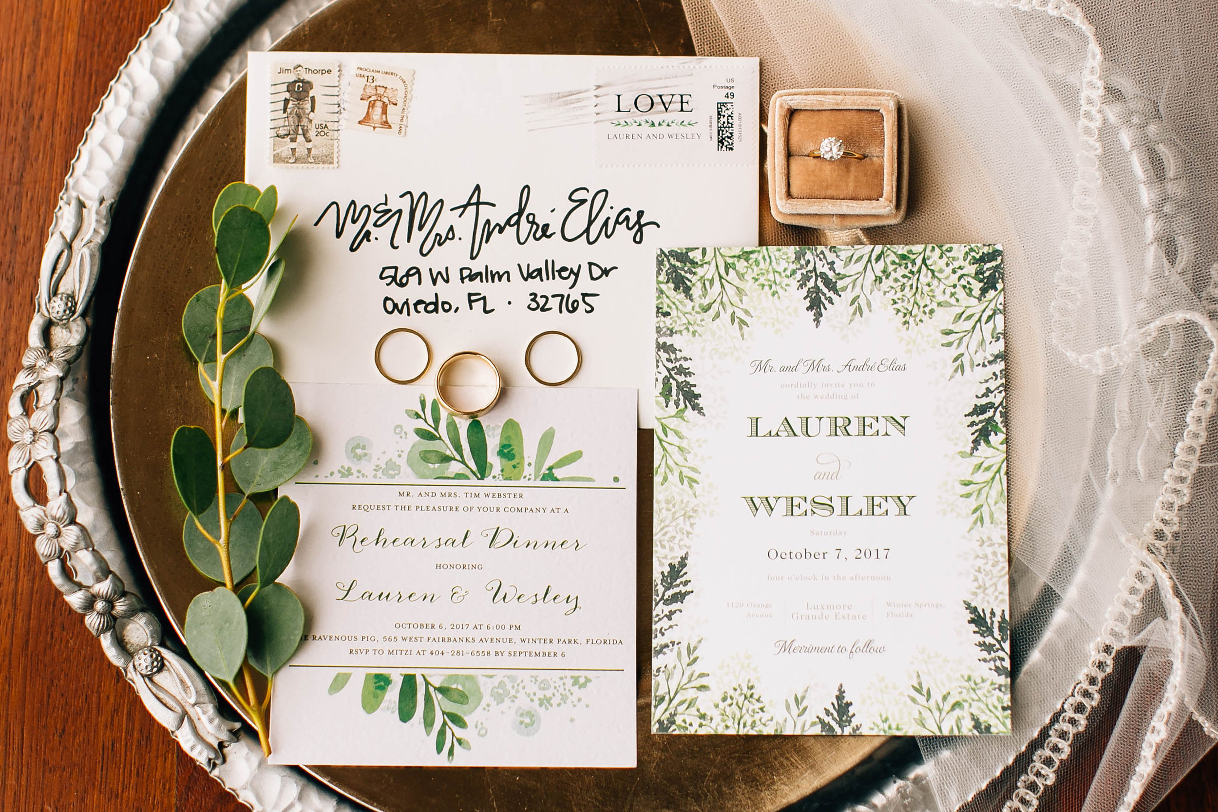 Stationery suite styled on vintage tray with Mrs box & invitations