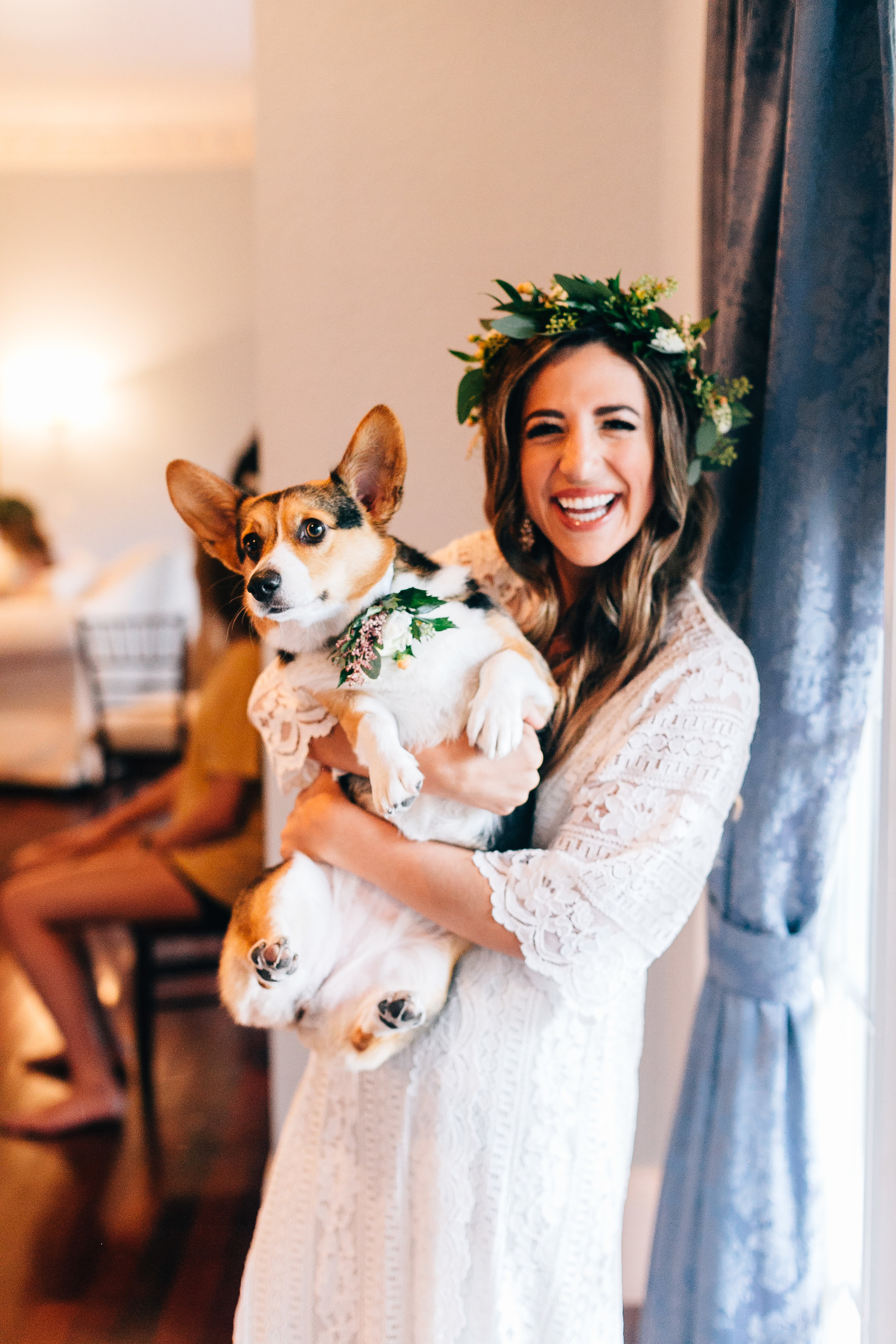 Bride getting ready with her adorable dog, Charli the Corgi!