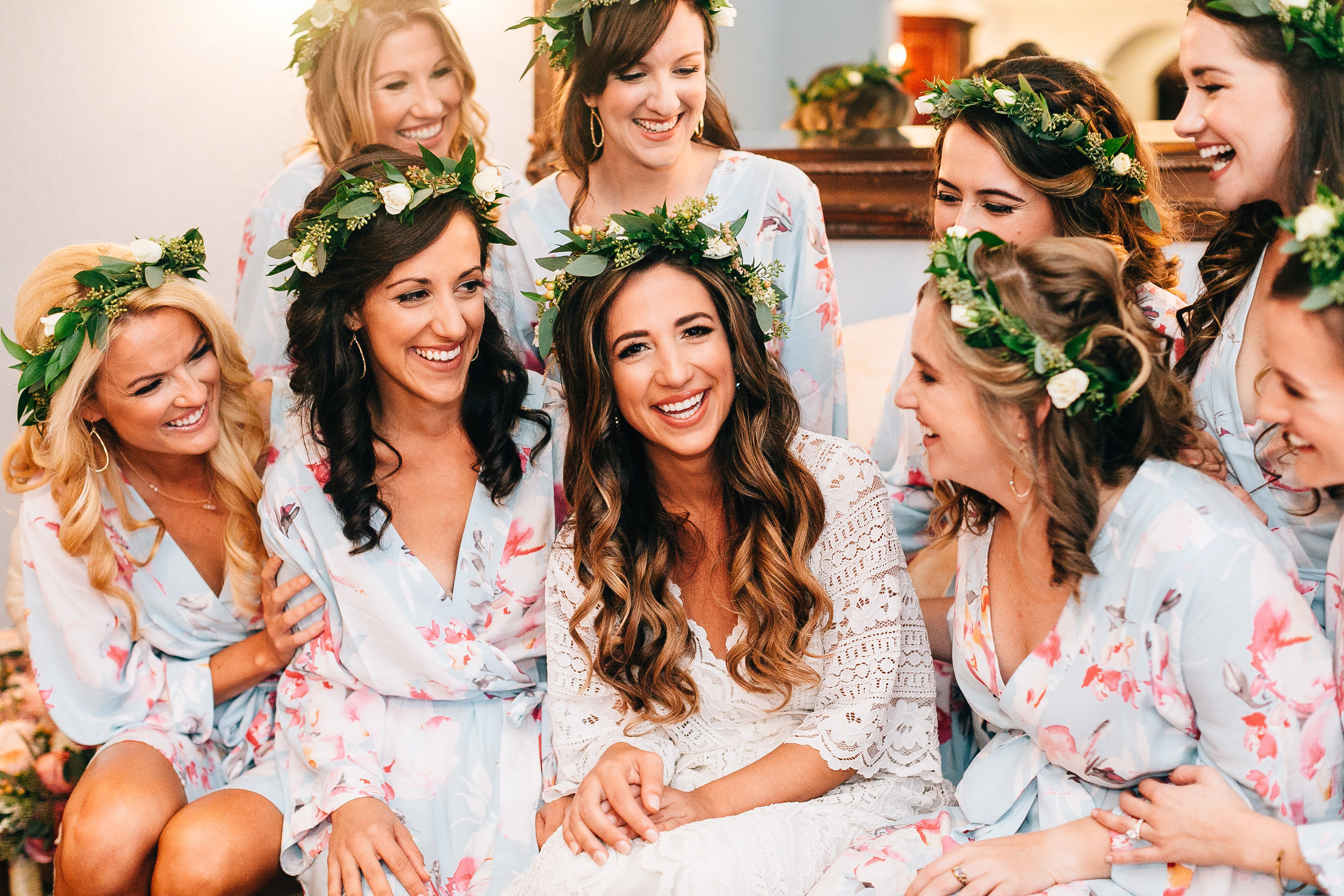 Bride & Bridesmaids in matching floral robes at Winter Springs Florida Wedding Luxmore Grande Estate