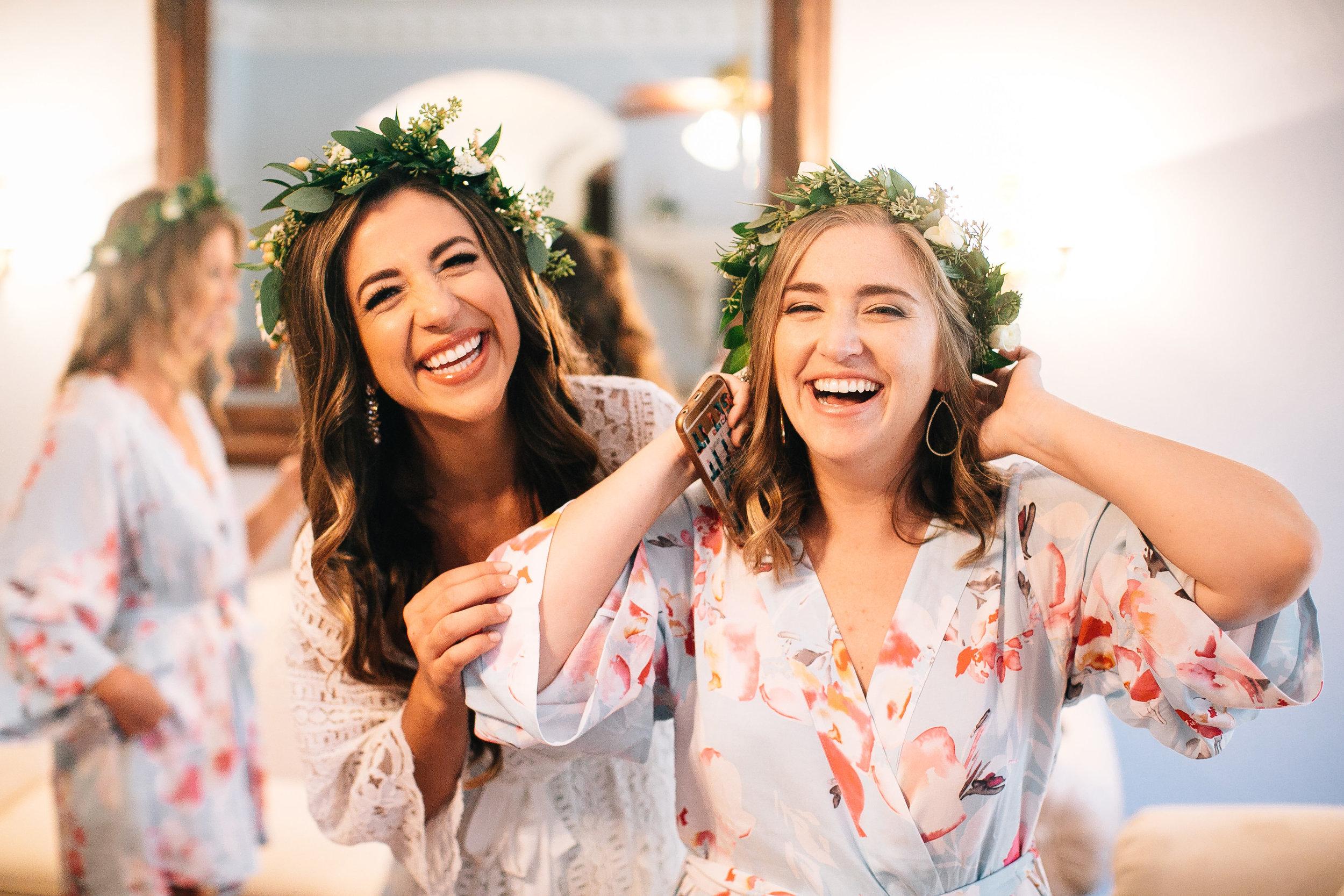Bride & Bridesmaids wearing flower crowns in Florida Wedding
