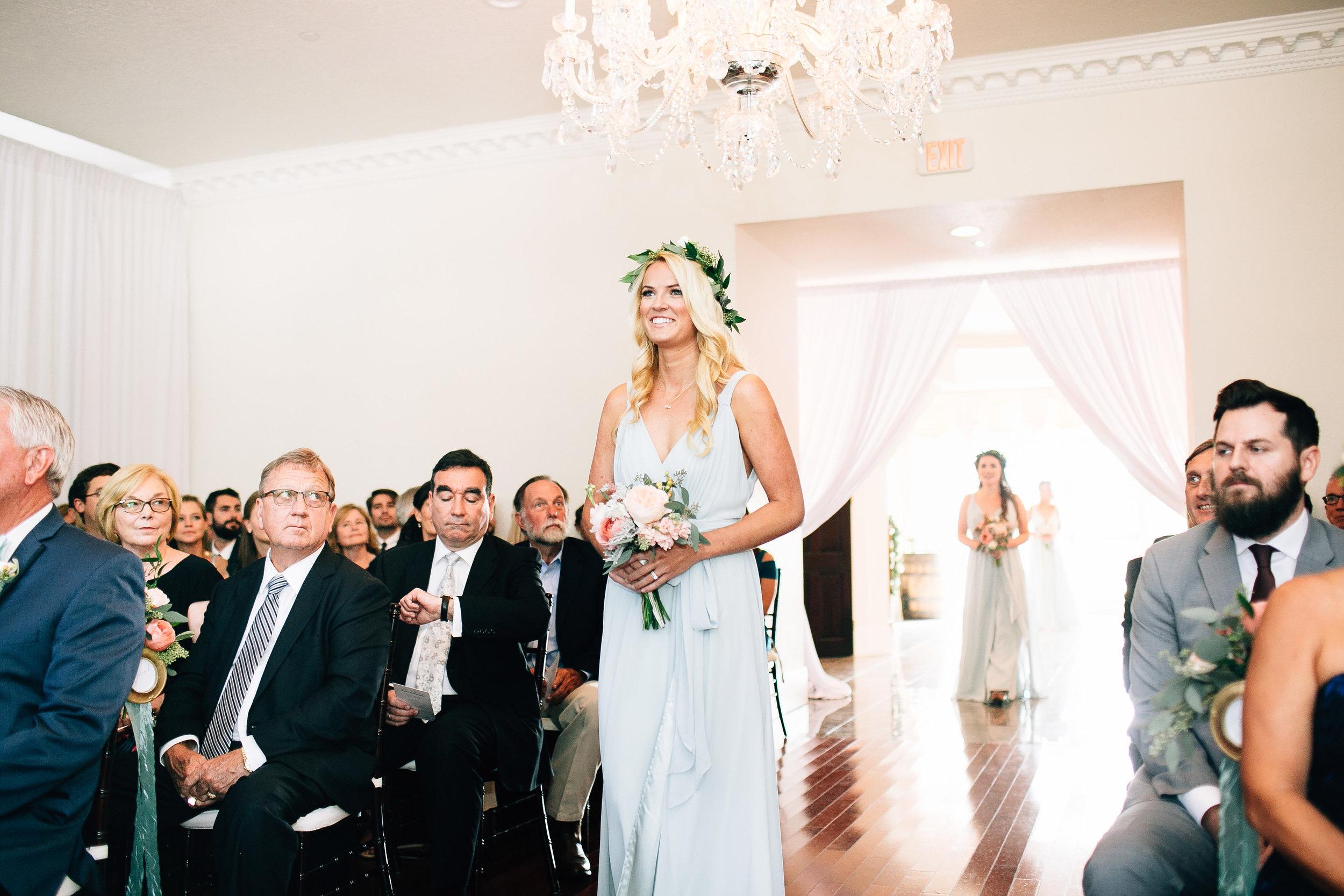 Bridesmaid with flowercrown & sage seafoam dress Orlando Wedding Planner
