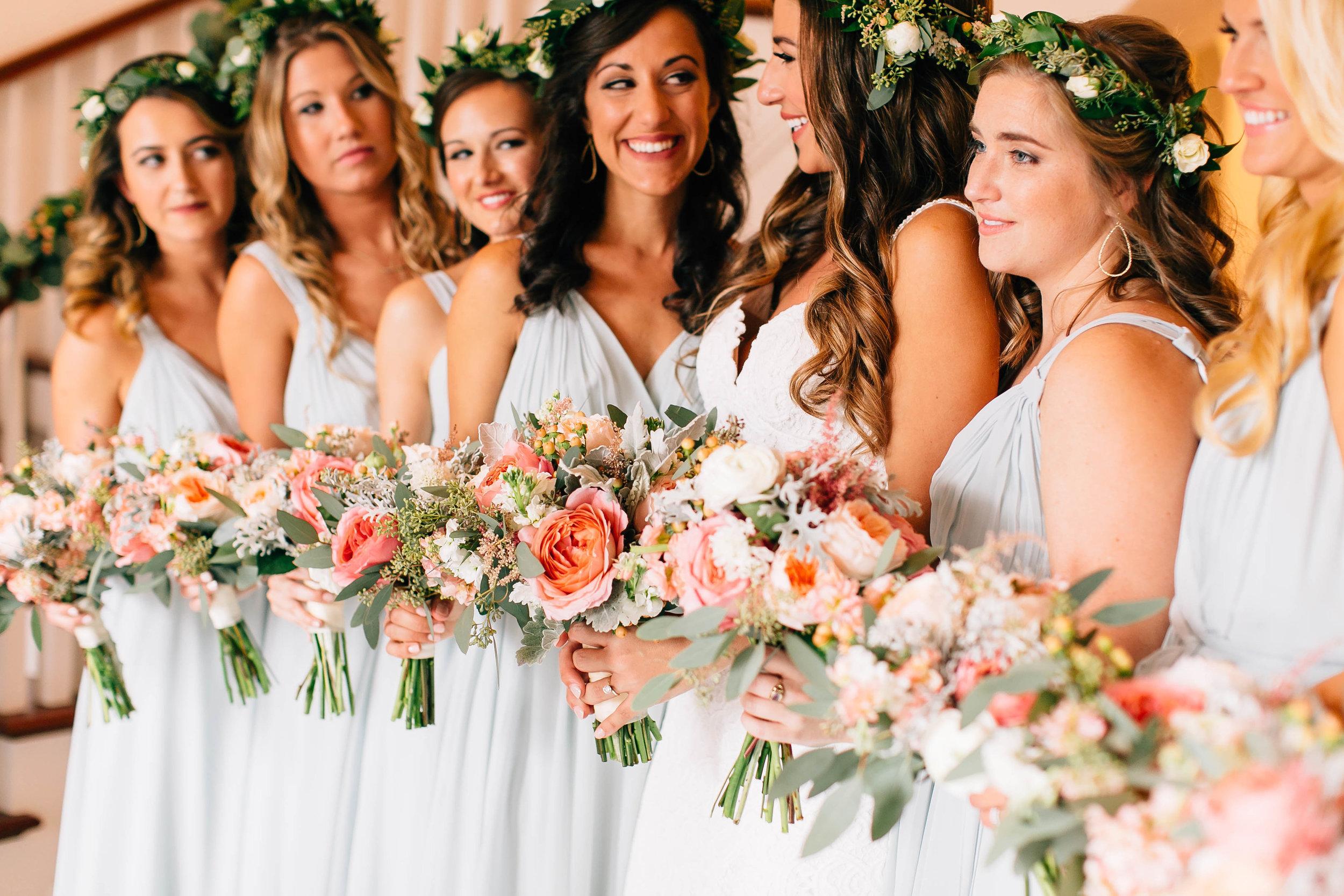 Bohemian Luxmore Grande, bridesmaids wearing flowercrowns Orlando Wedding Planner Blue Ribbon Weddings