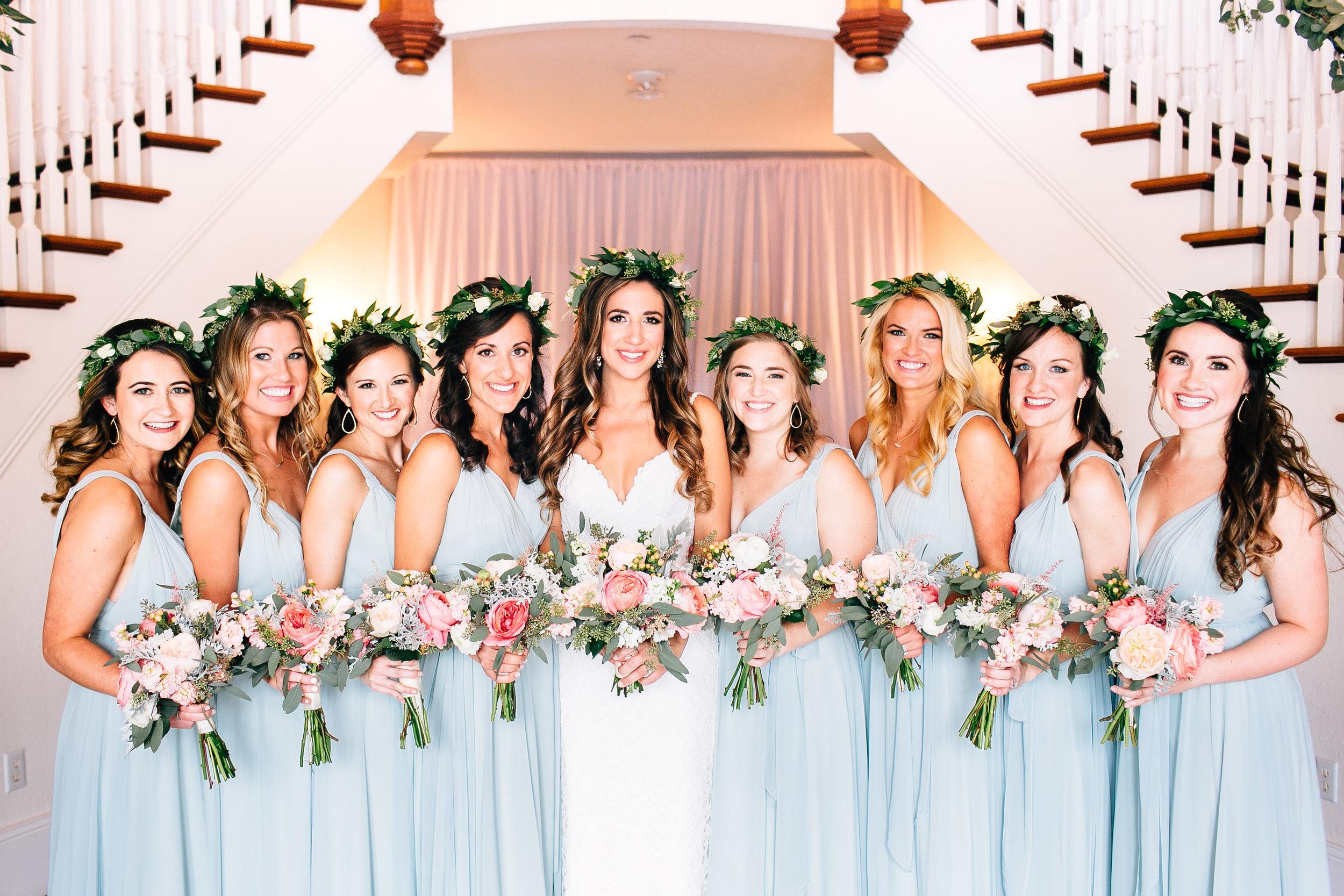 Bridesmaids sage dresses garden bouquets Orlando Wedding Planner Blue Ribbon Weddings