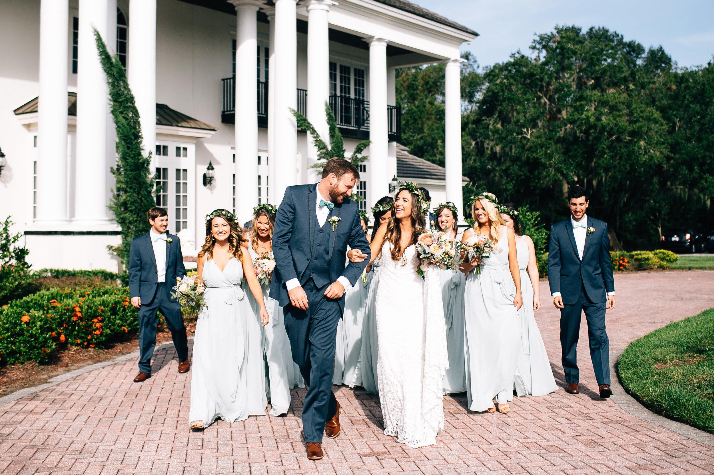 Wedding party photos at Luxmore Grande, bridesmaids in sage dresses Orlando Wedding Planner Blue Ribbon Weddings