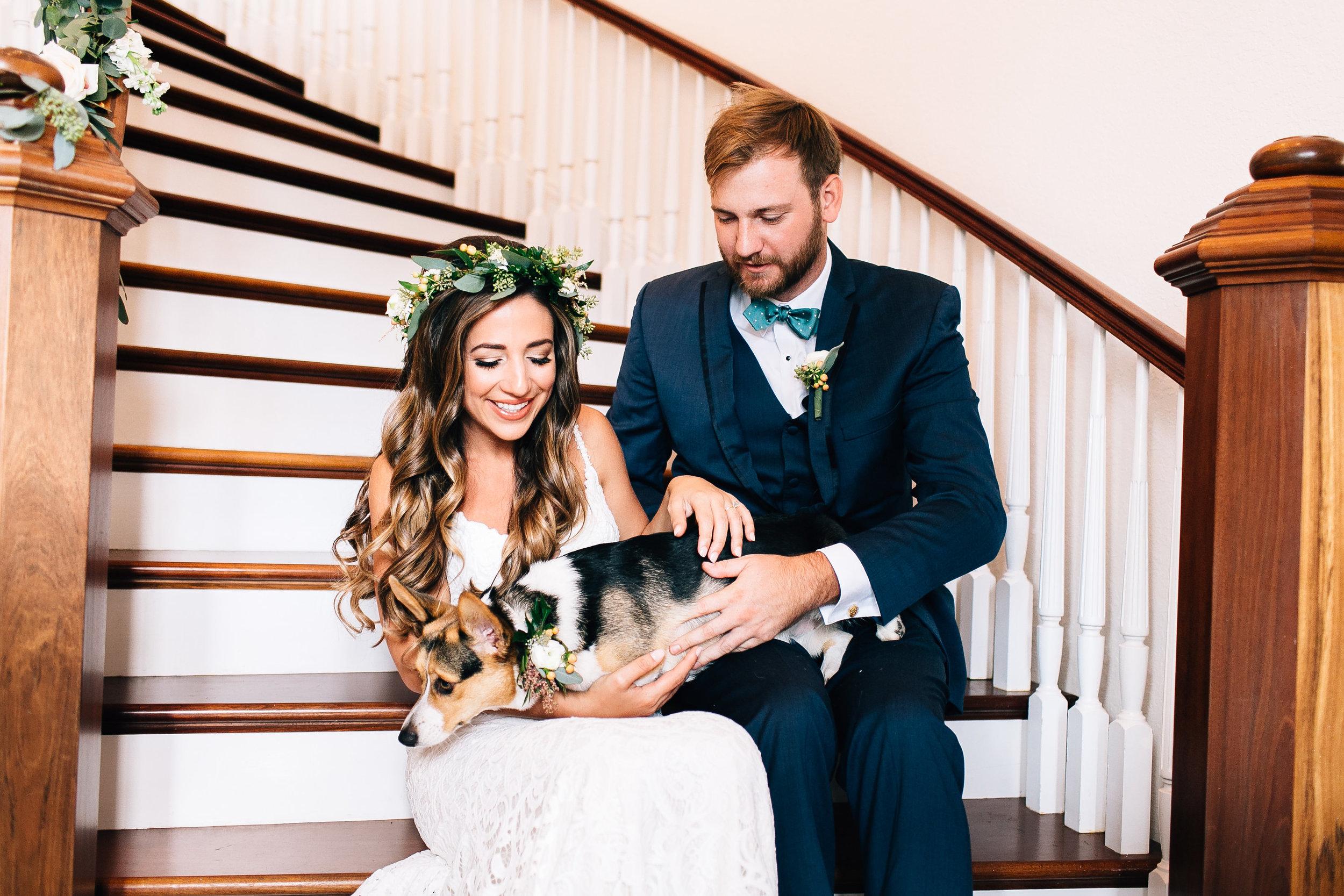 Luxmore Grande Estate first look photos with their dog Orlando Wedding Planner