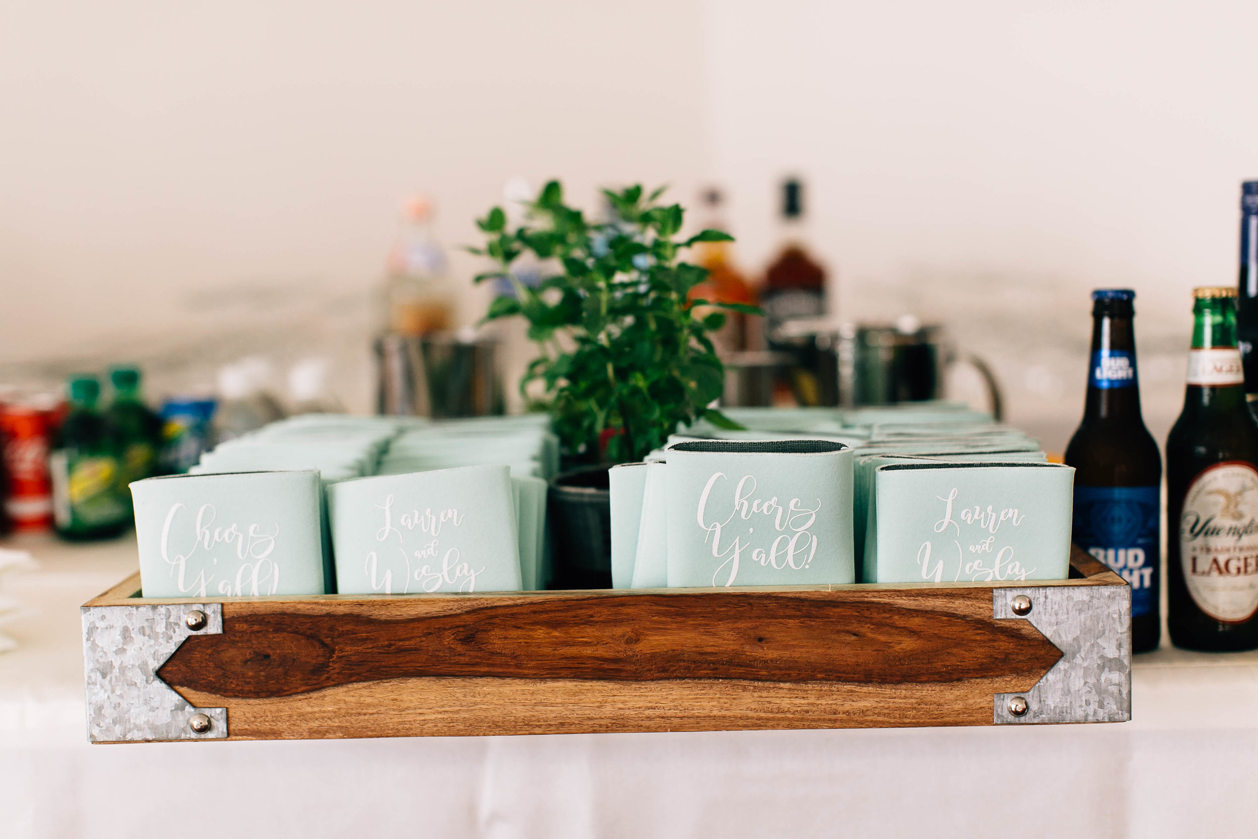 Coozies with fresh mint for signature drinks Orlando Wedding at Luxmore Grande Estate