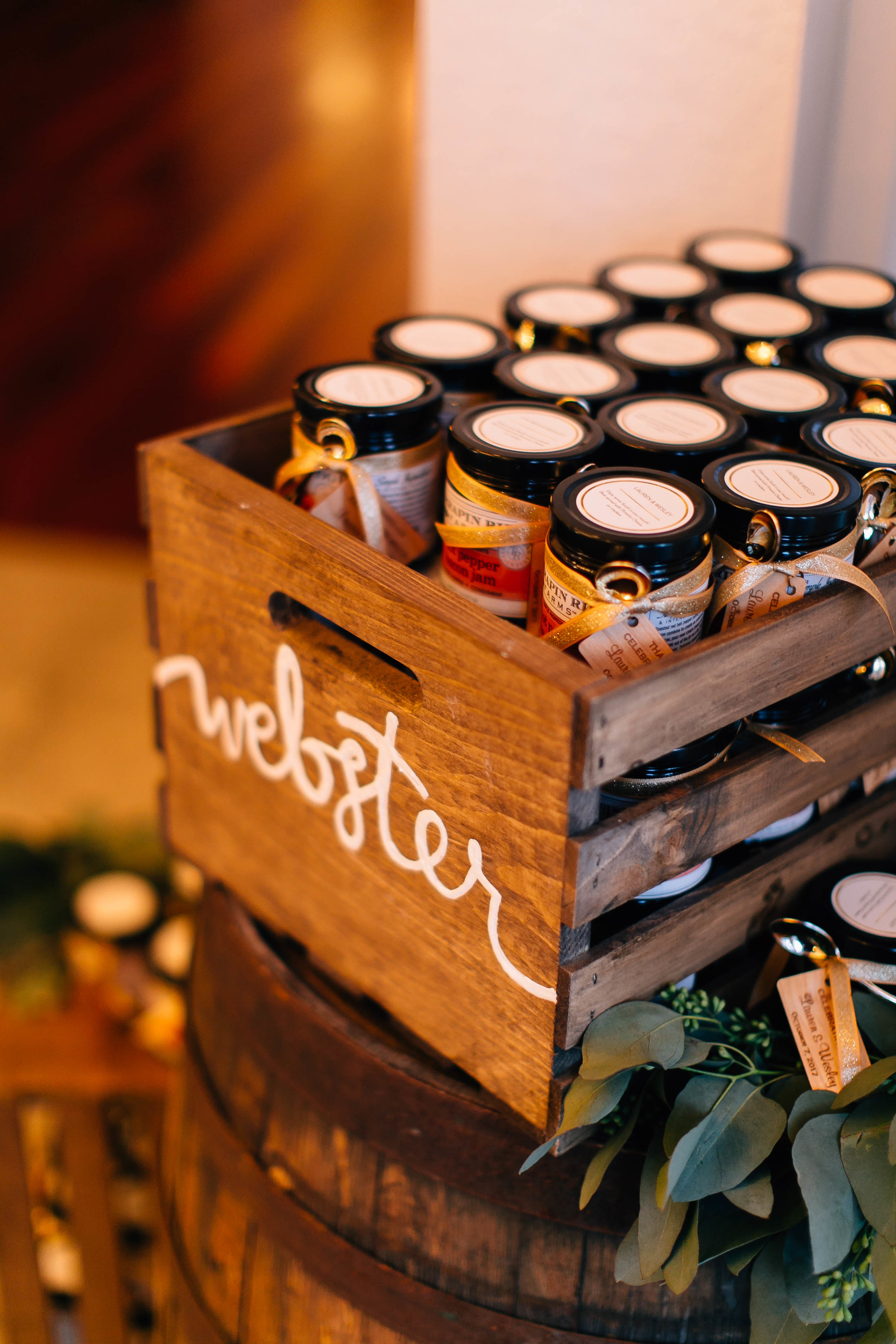 Customized bacon jam wedding favors in crates