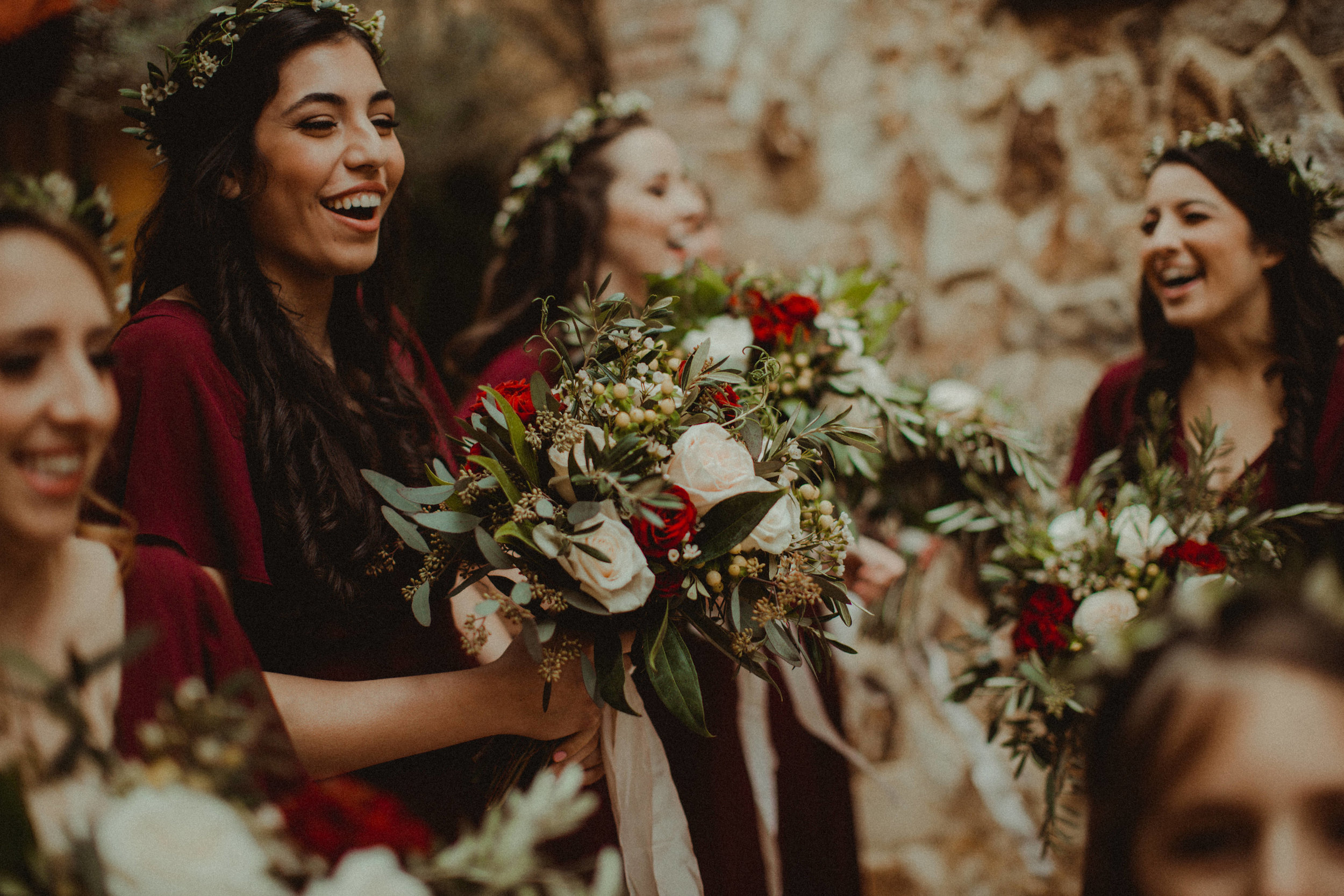 Happy bridesmaids celebrating their newly married friend