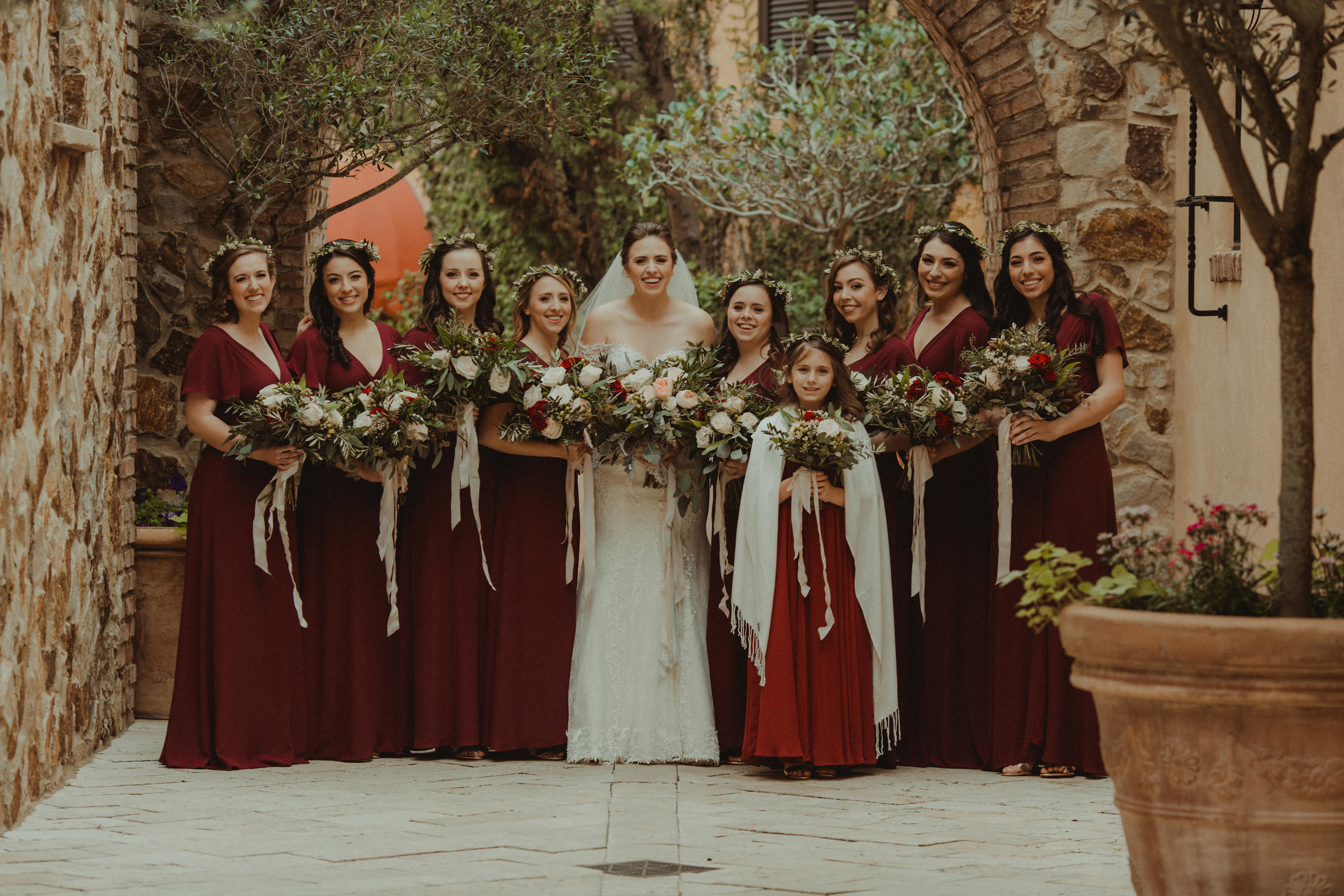 Bridal Party in Paper Crown Bridesmaid dresses