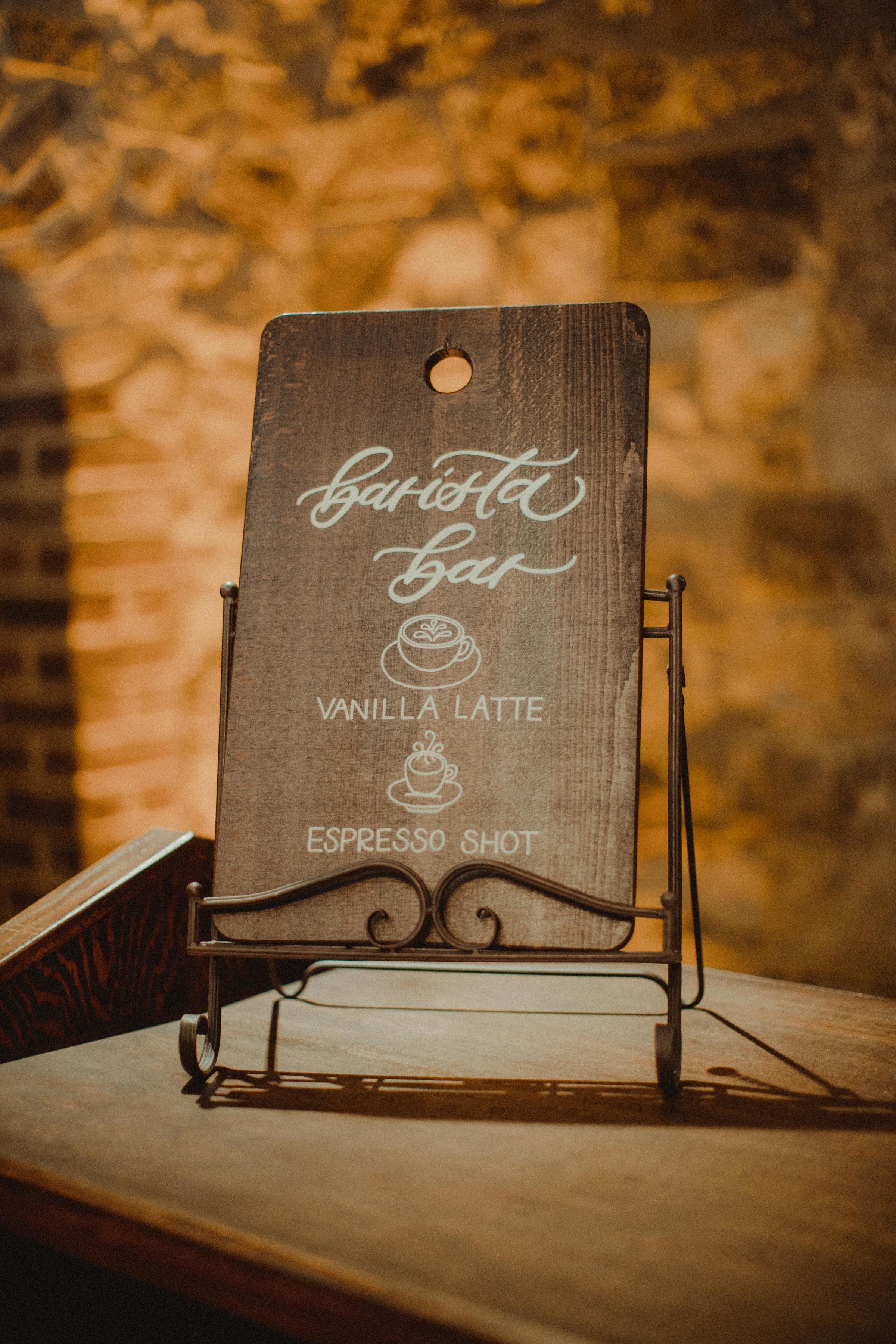 Barista Bar including Vanilla Lattes and Espresso Shots
