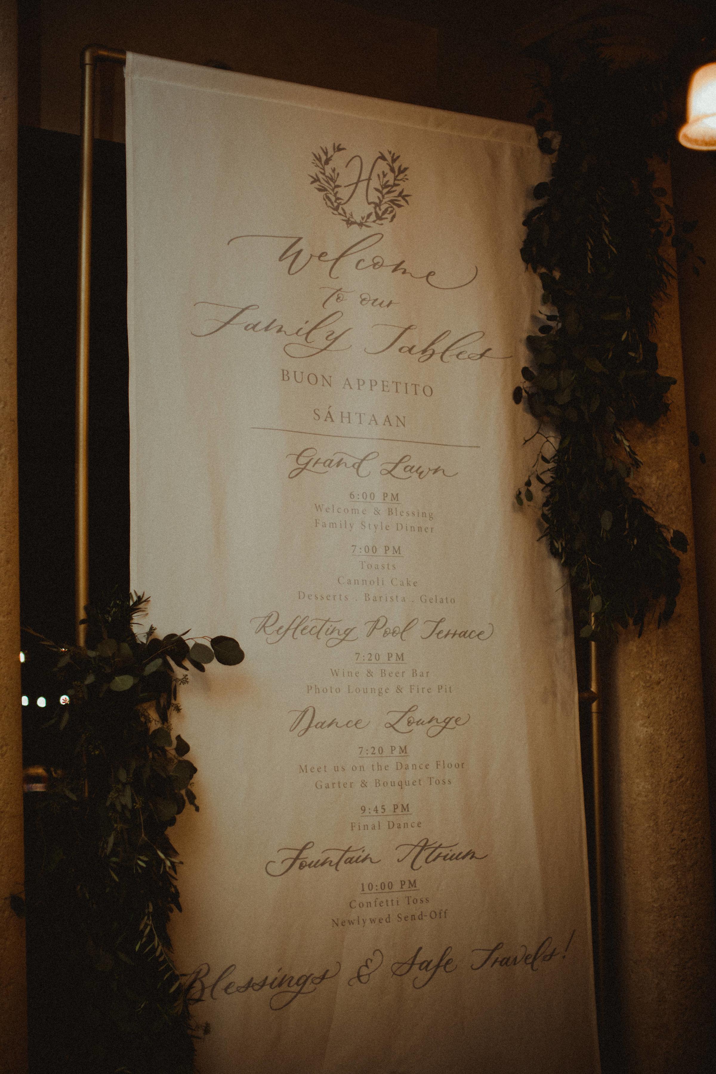 Wedding Welcome Sign & Reception Program by Letra Bohemia
